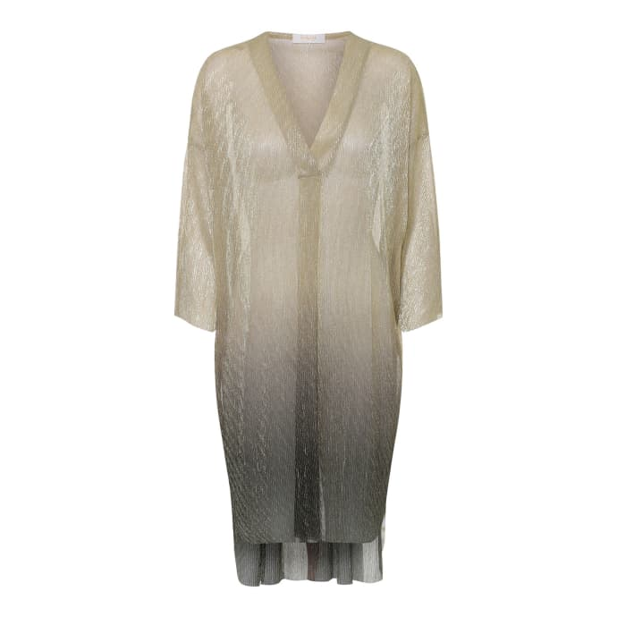 Rabens Saloner Golden Black Polyester Metallic Yarn Melisa Ombre Kaftan Dress
