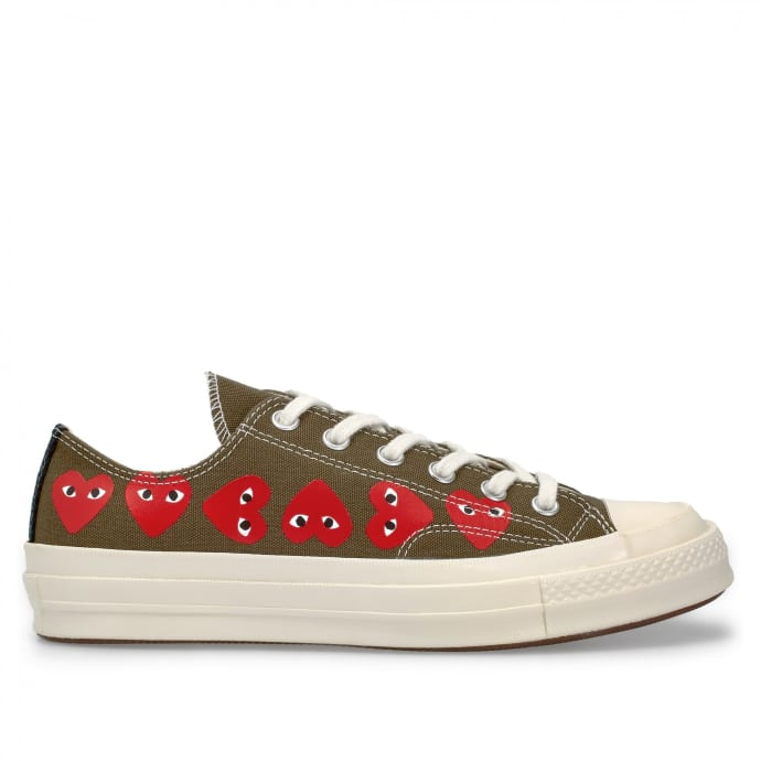 Comme Des Garcons Khaki Multi Red Heart Cotton Chuck Taylor Play Converse All Star 70 Low Sneaker