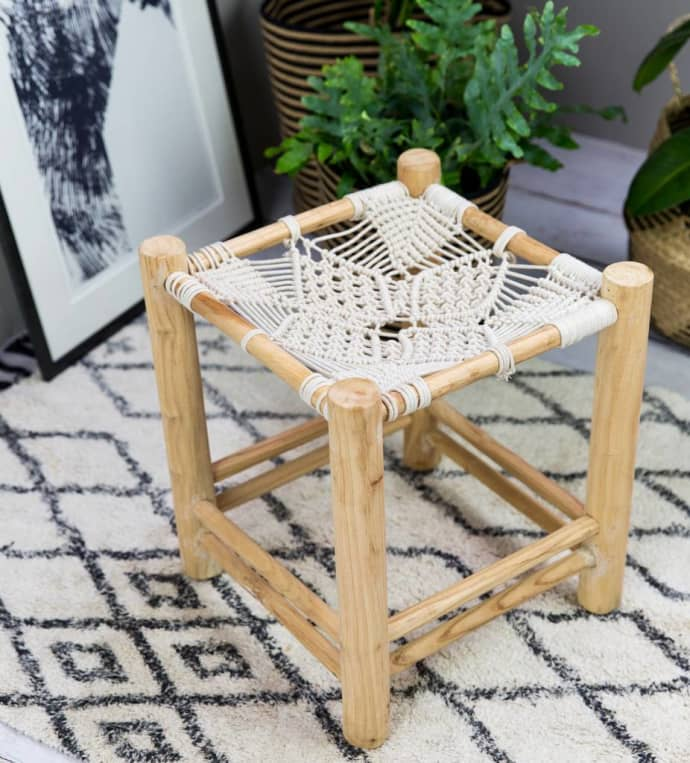 Surprising Liv Interior Natural Star Macrame Stool Ibusinesslaw Wood Chair Design Ideas Ibusinesslaworg