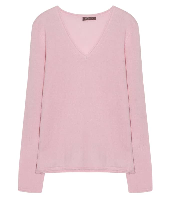 10per3 Pink Cashmere V Neck Sweater