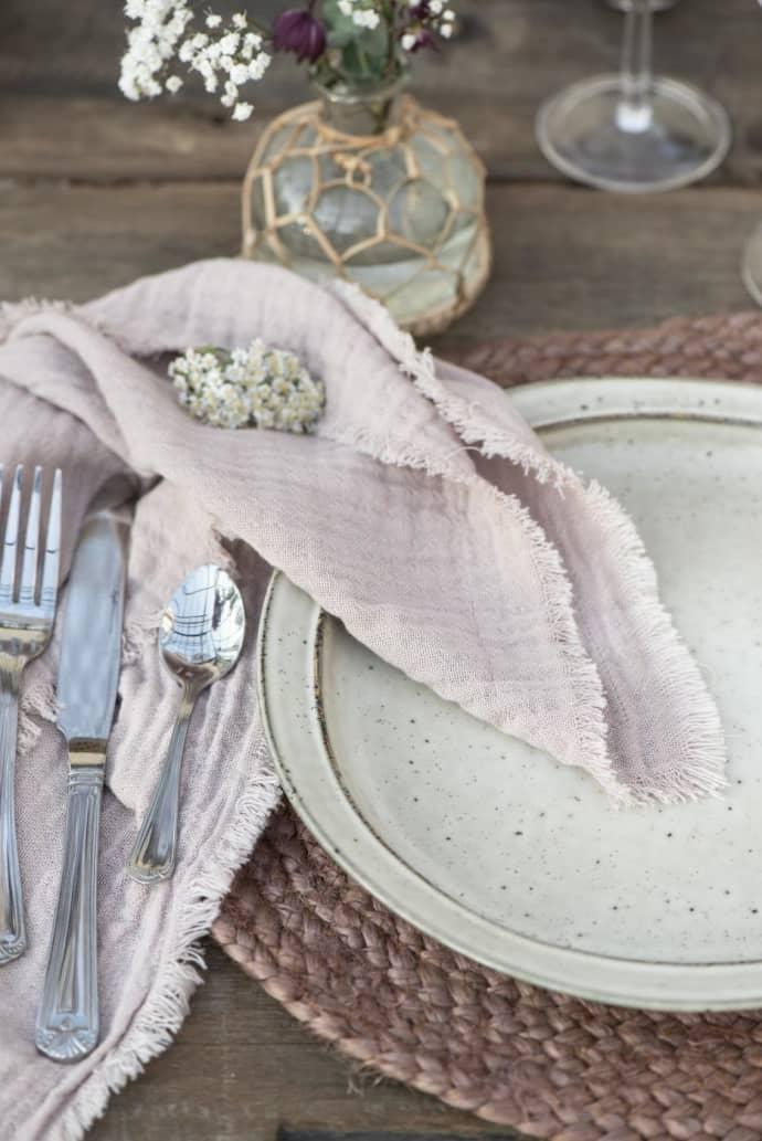 Trouva Rose Cotton Double Woven Cloth Napkin
