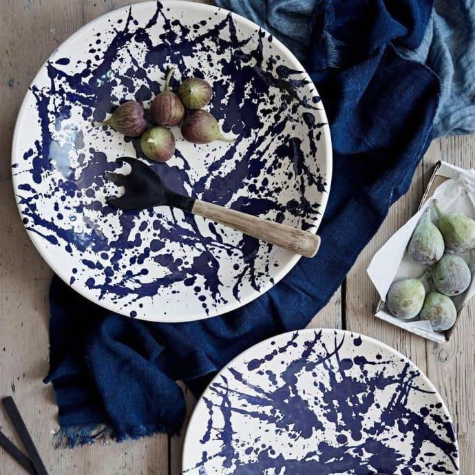 Trouva Set Of 2 White And Blue Splatter Gerona Tapas Stoneware Dish