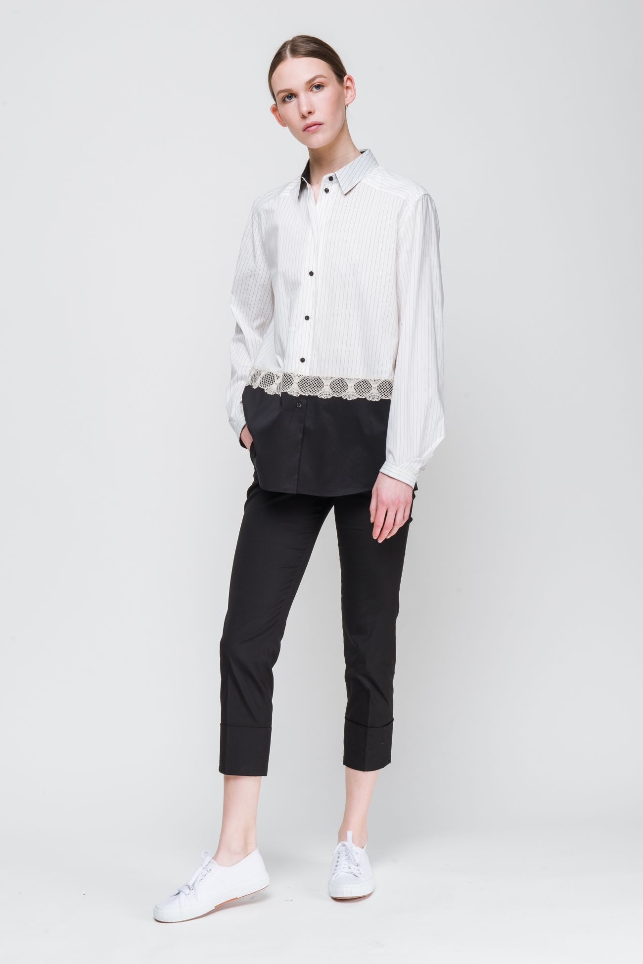 Pinstripe blouse with lace