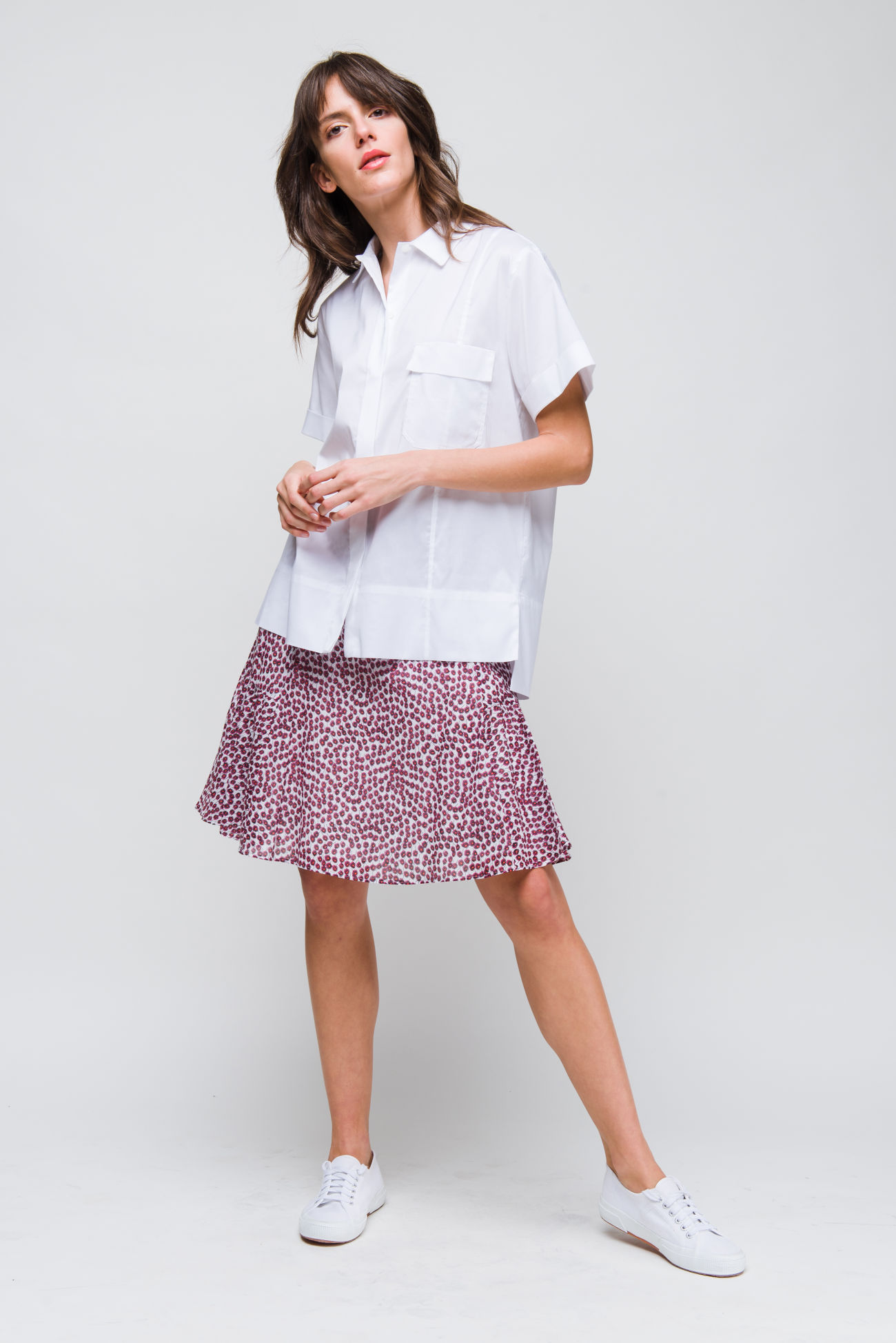 Skirt in cotton-voile