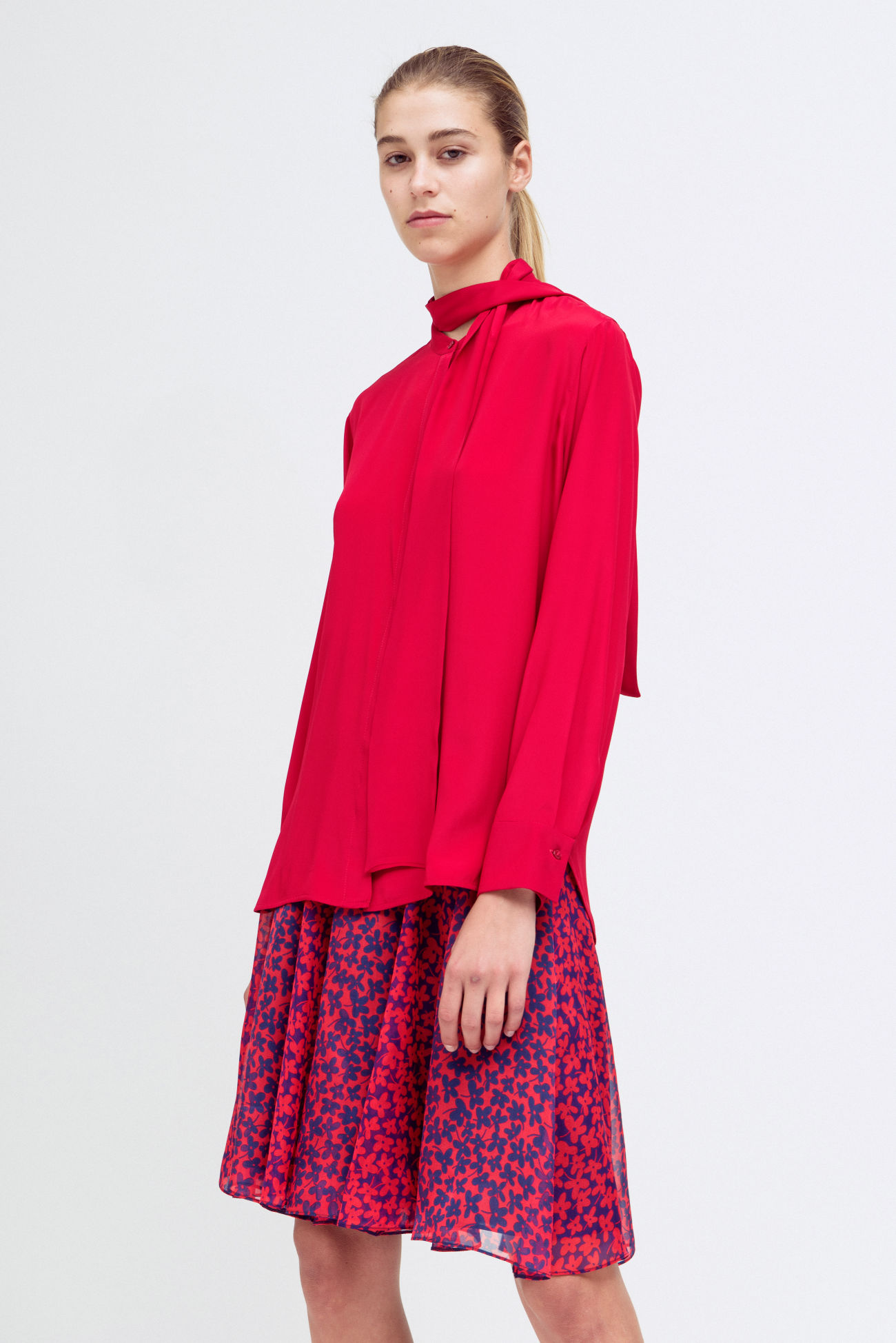 Blouse with shawl collar