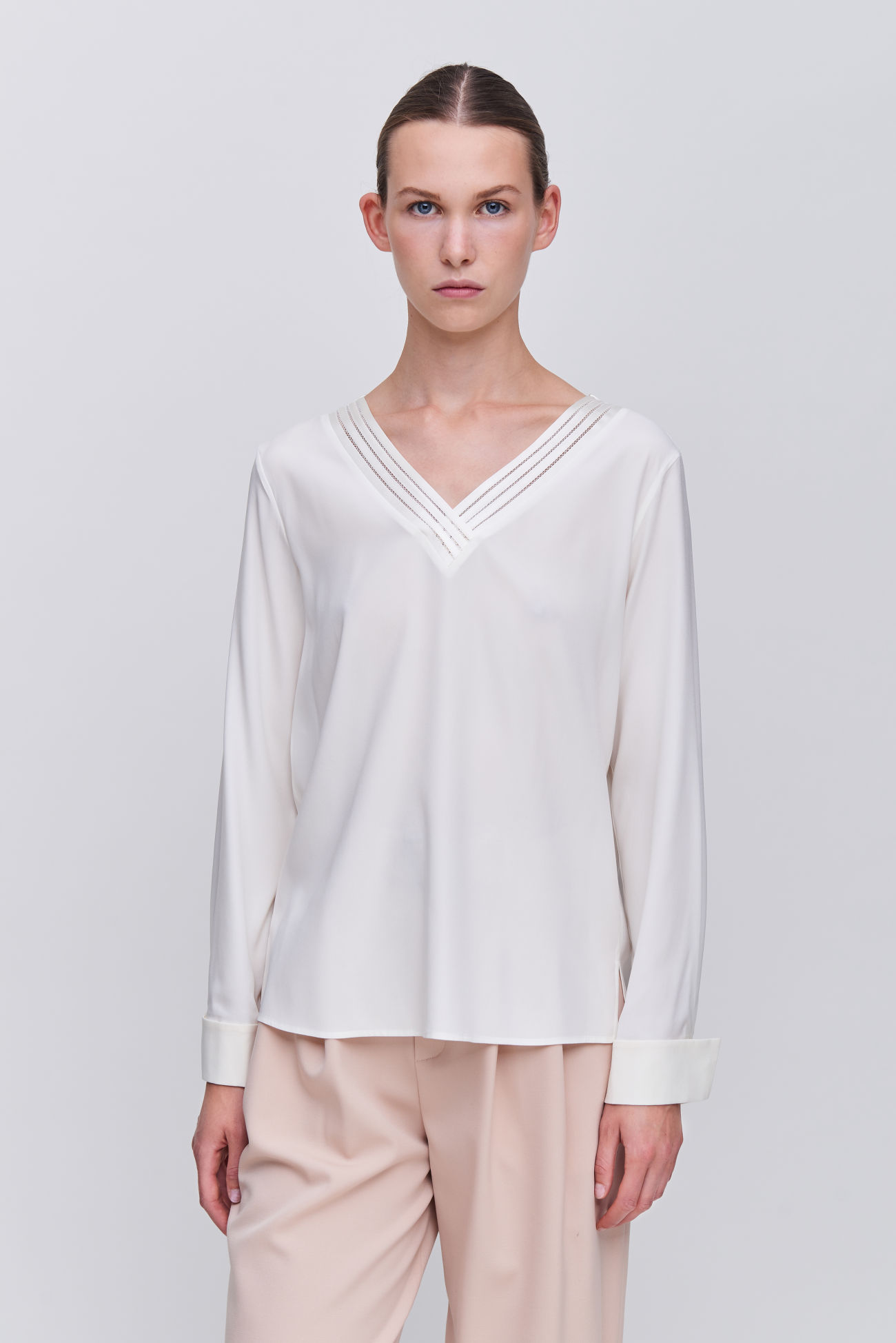Silk blouse with V-neck