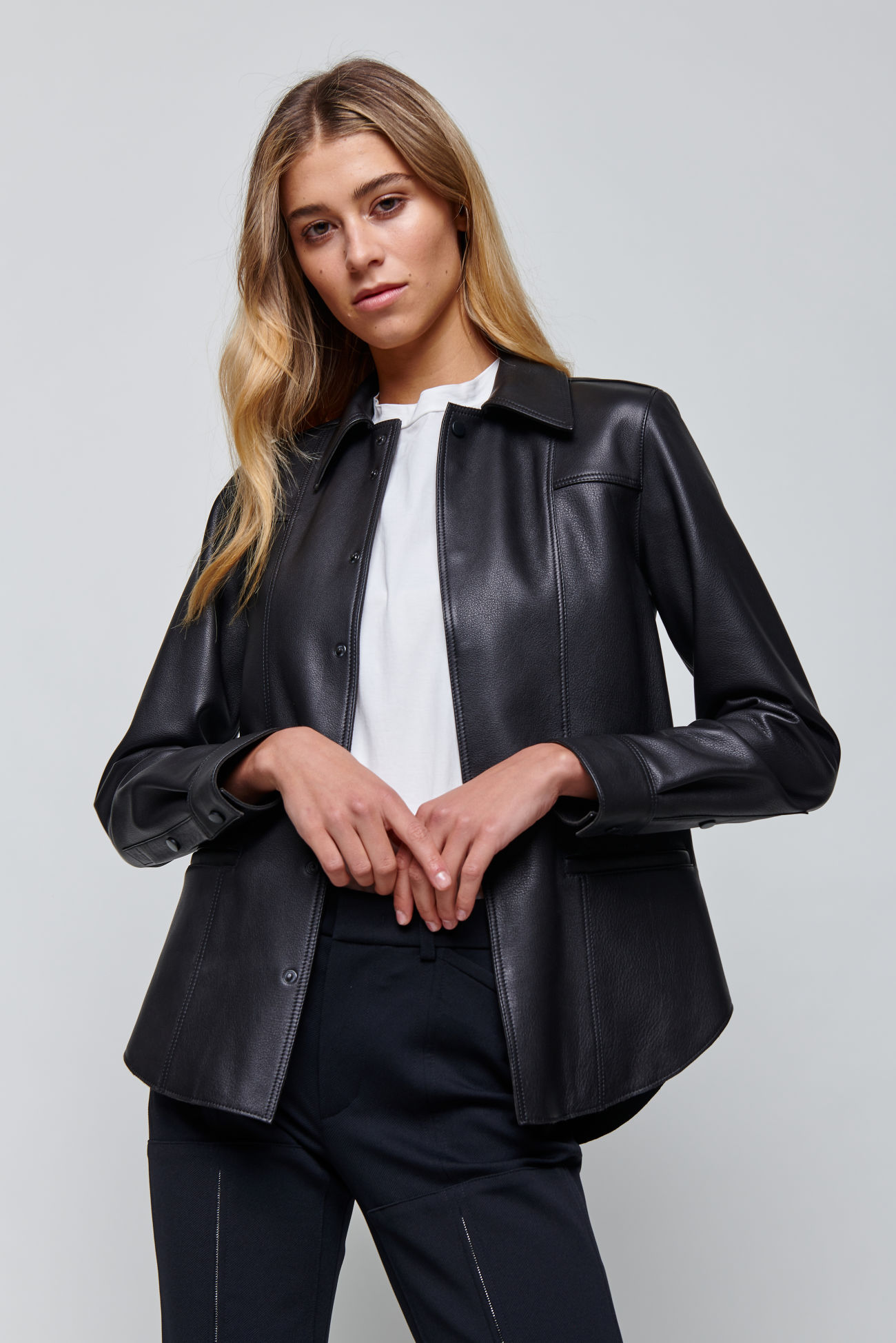 Leather blazer made of slightly textured Nappa