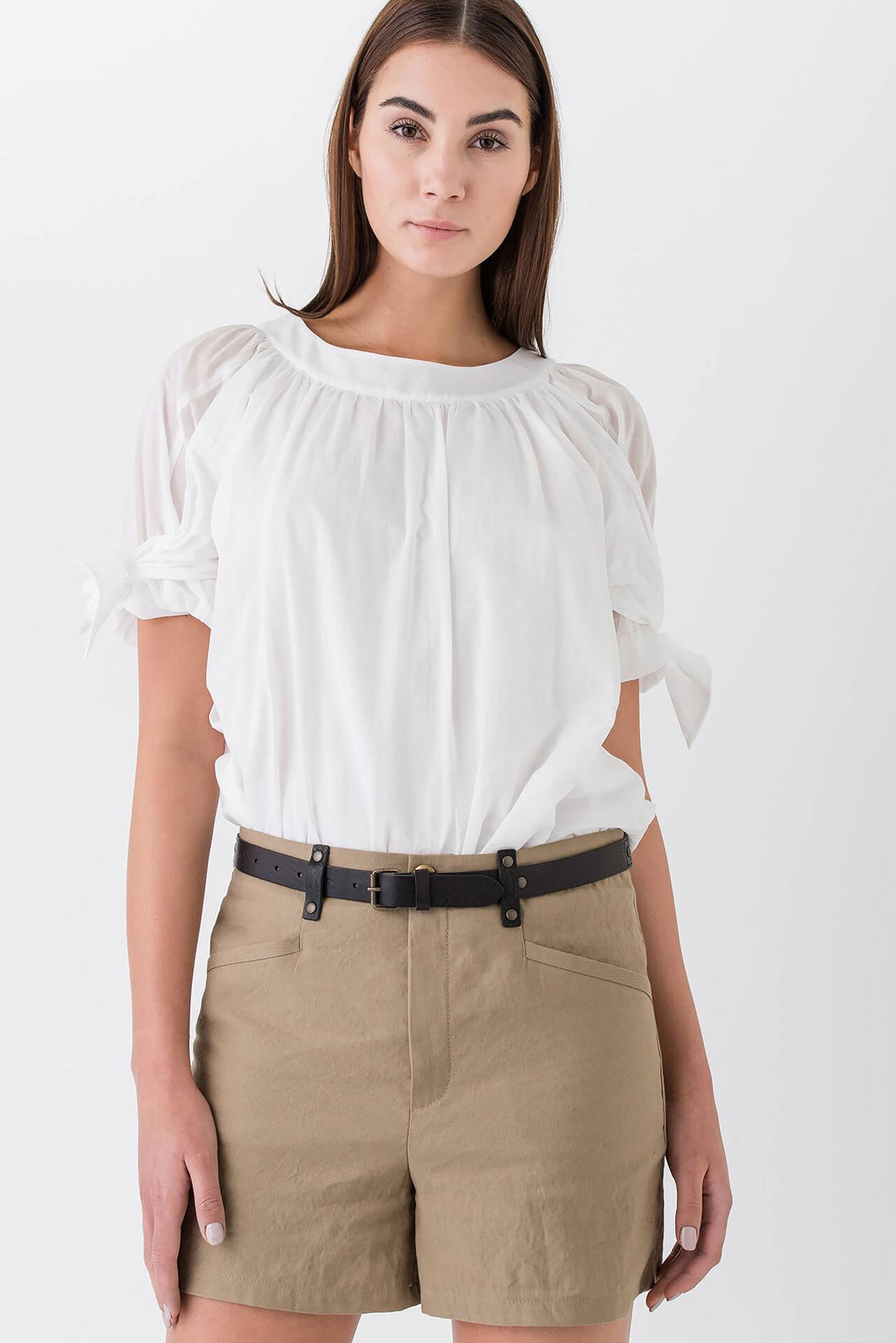 Elaborate, playful blouse made of voile with short sleeves