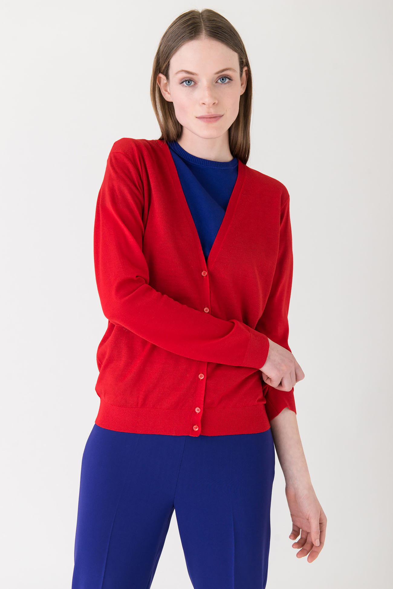 Cardigan made of a blend of ribbed virgin wool and cashmere