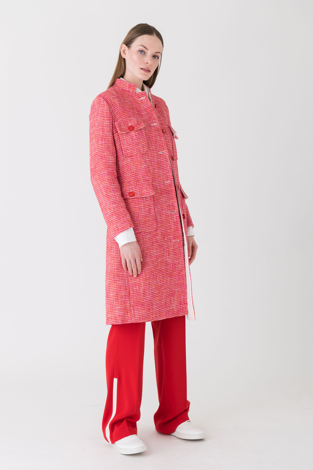 Statement coat made of lightweight summer tweed