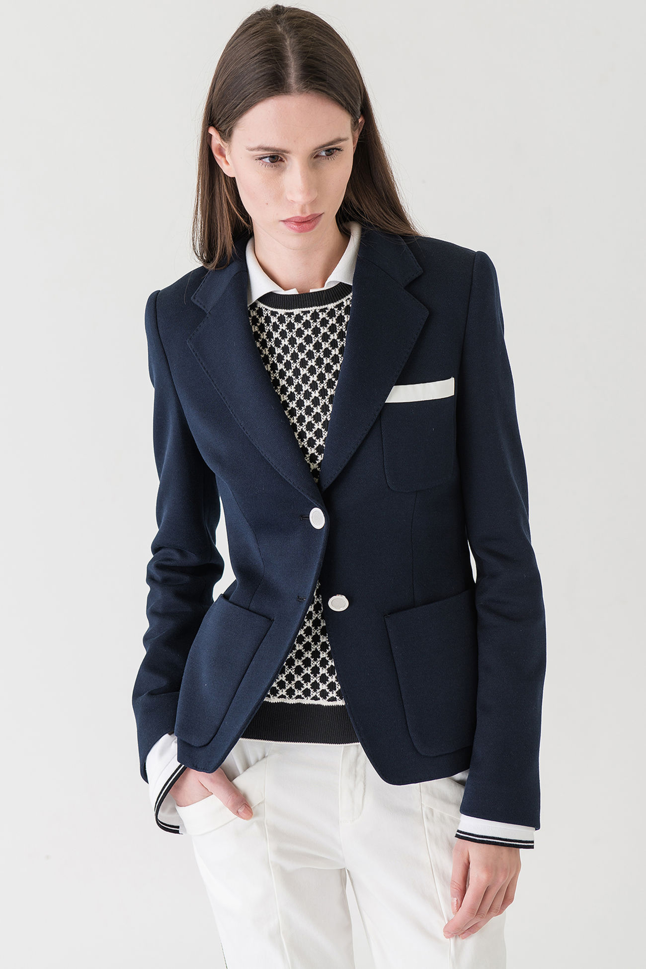Tailored piquet jersey blazer