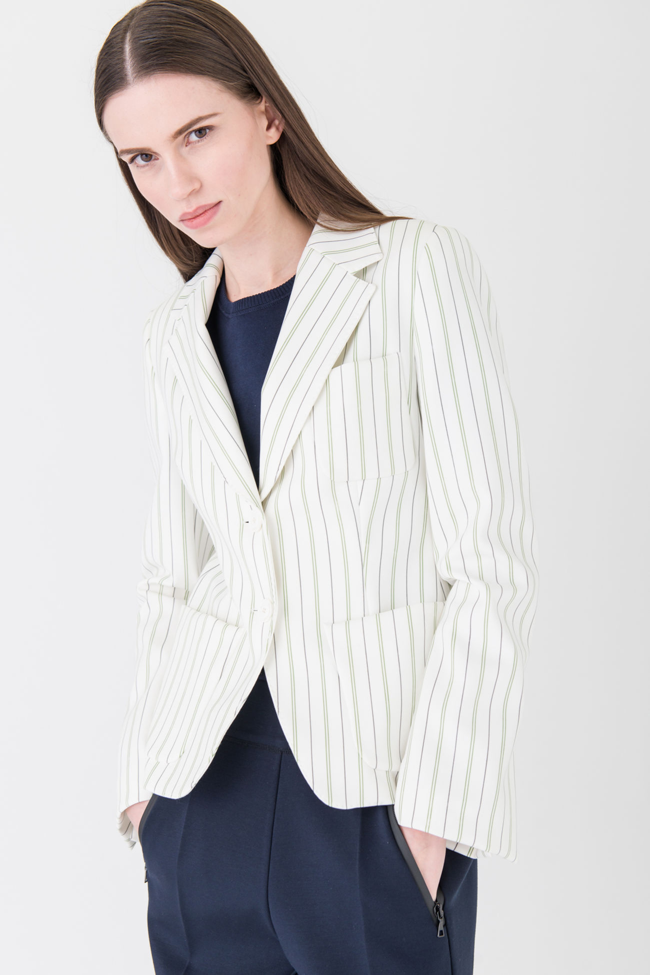 Extravagant, striped blazer made of Dri-FIT jersey