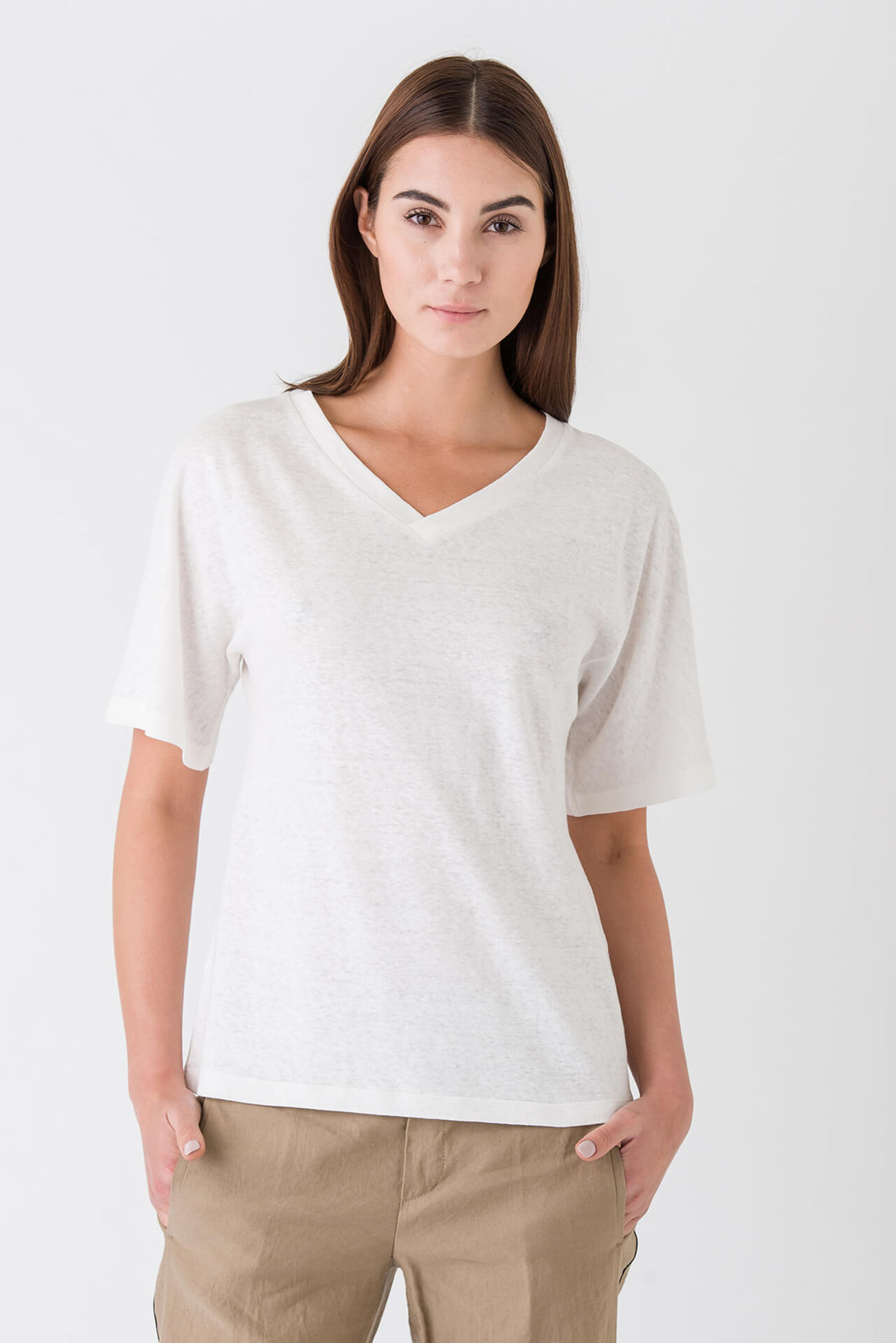 Exquisite basic shirt made of a linen blend