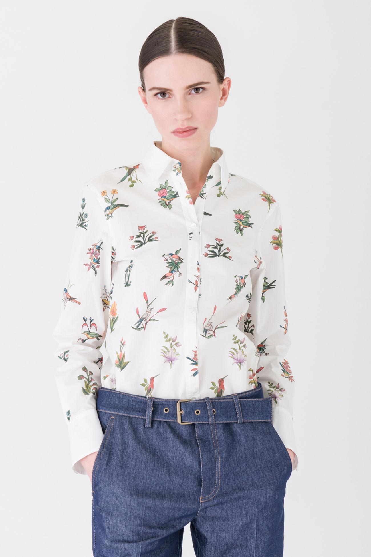 Stylish cotton blouse with elegant bird print