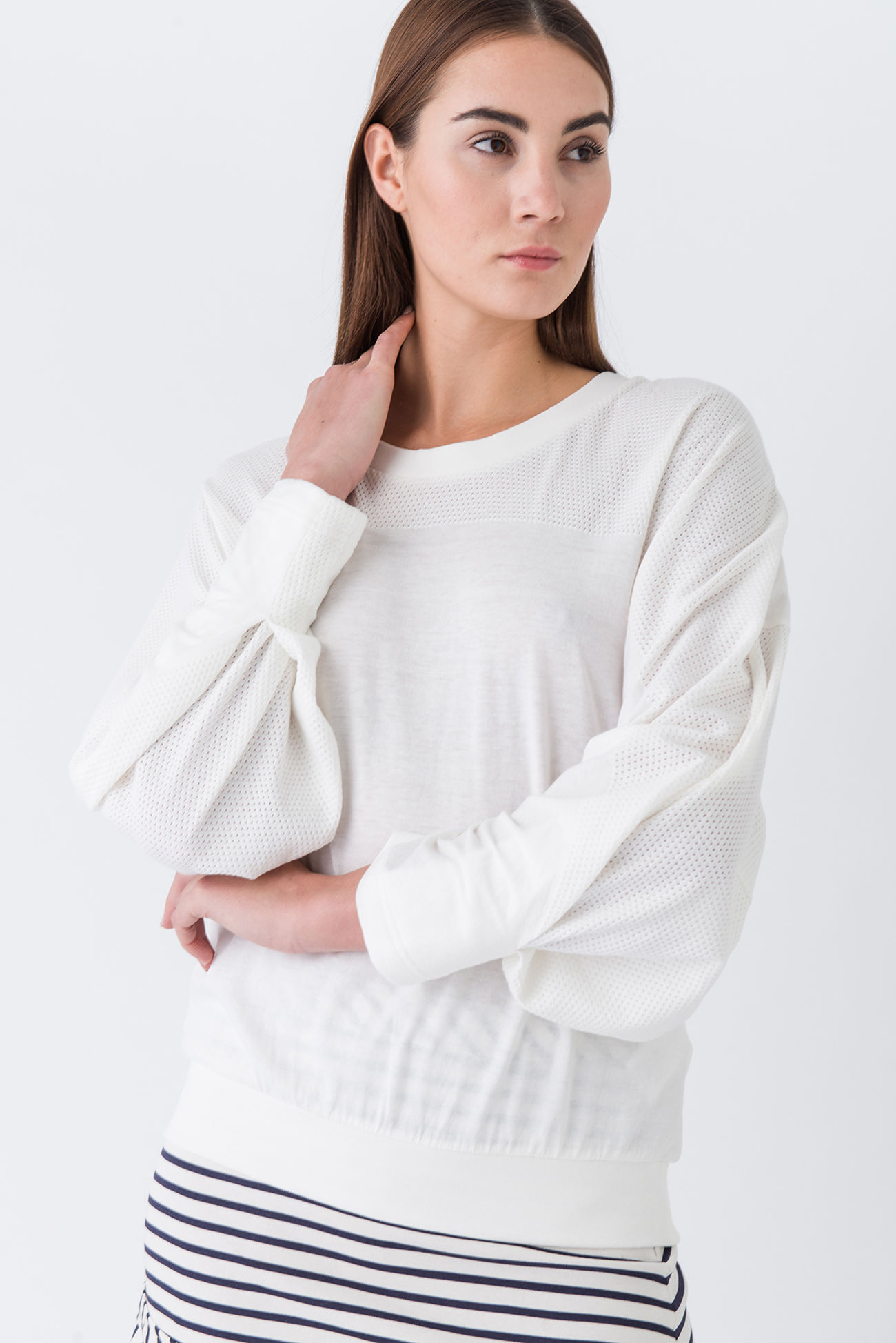 Sweater in a blogger style with delicate hole pattern effect
