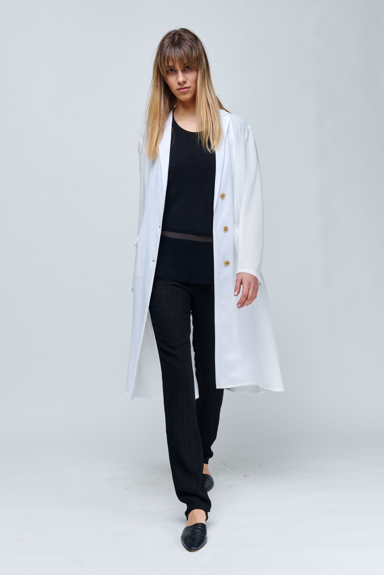 Long, semi- transparent blazer coat