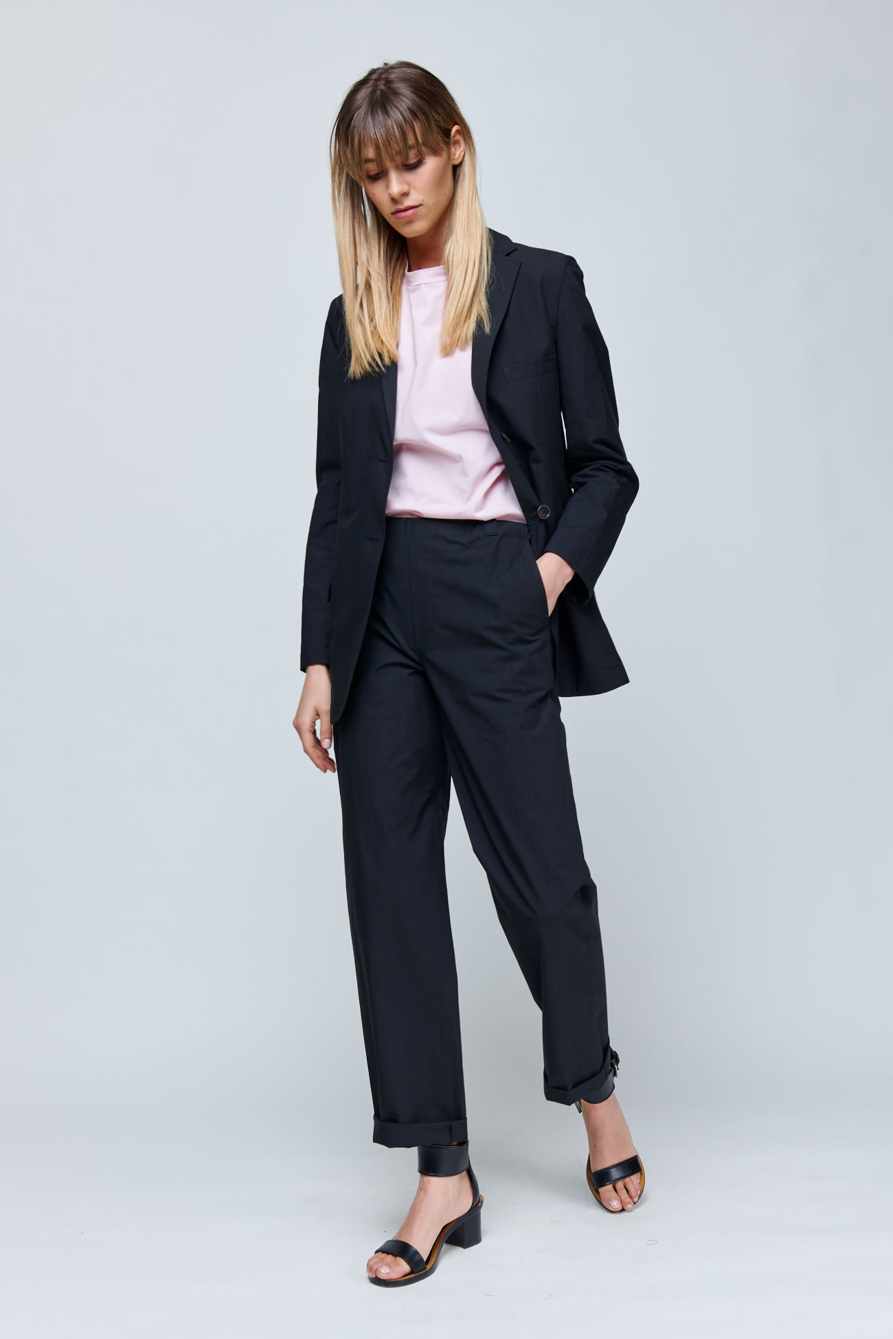Long blazer made of summery cotton