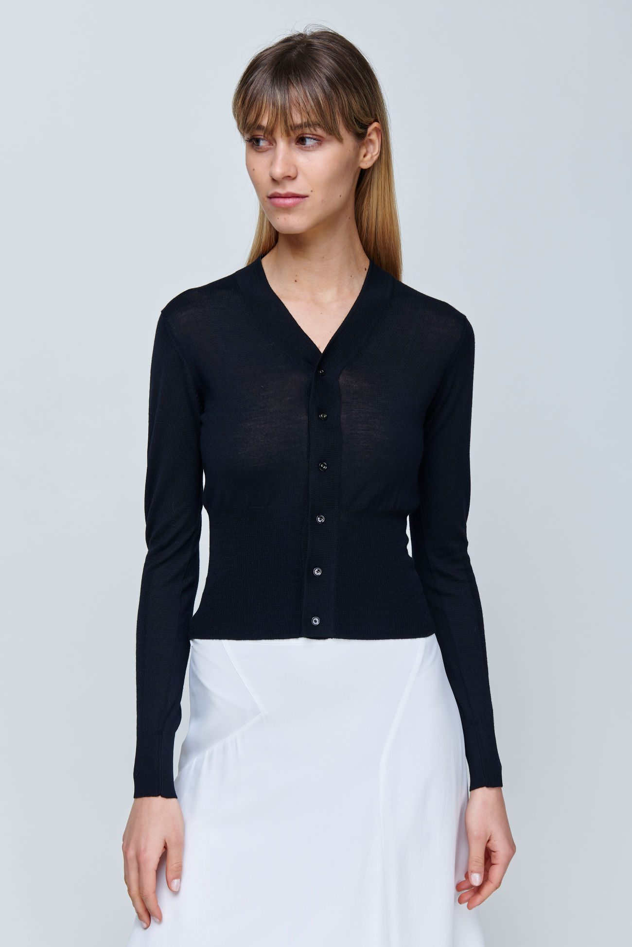 Short cardigan with cashmere blend