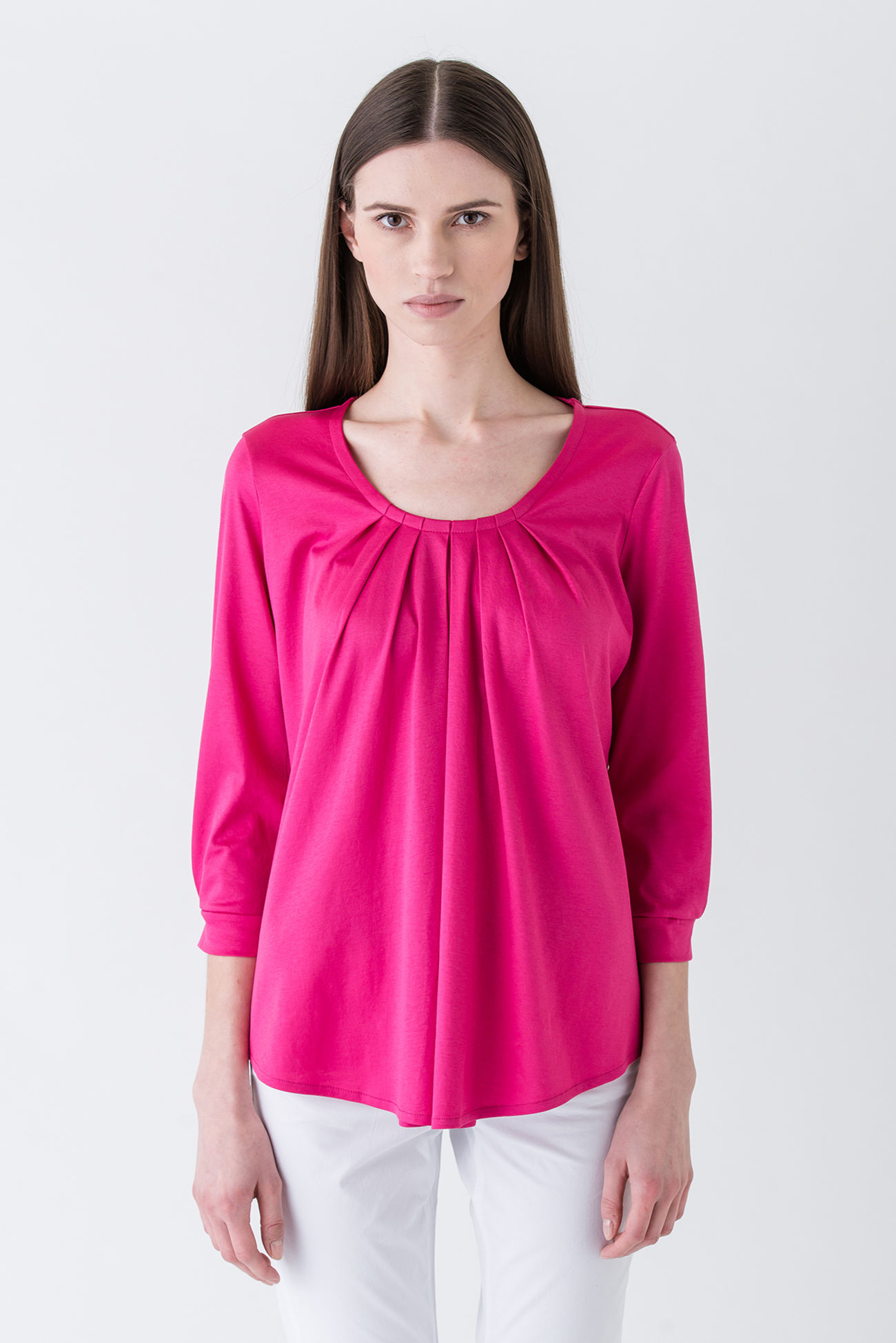 Very feminine long-sleeve shirt made of interlock jersey