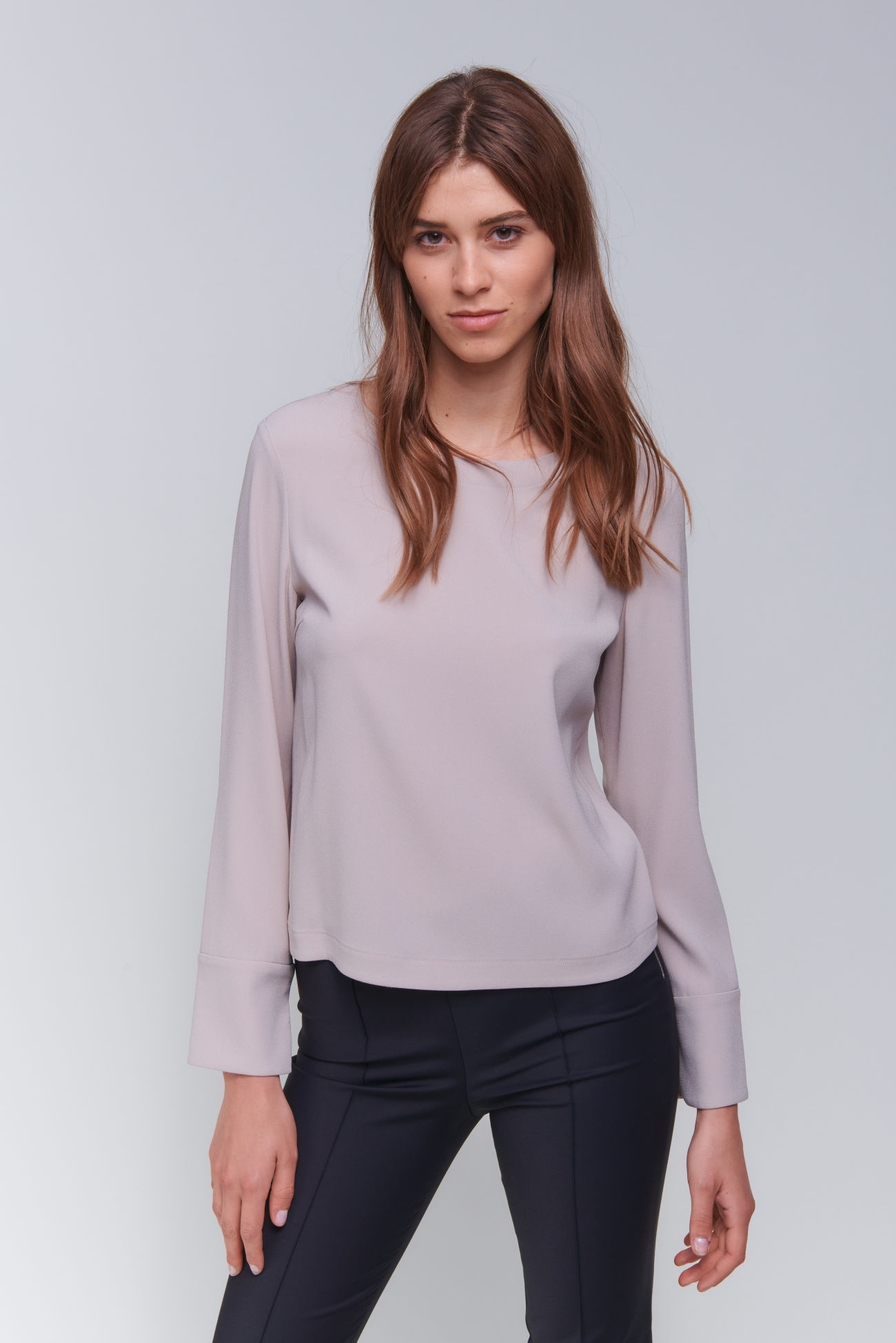 Precious long sleeve top made of crêpe