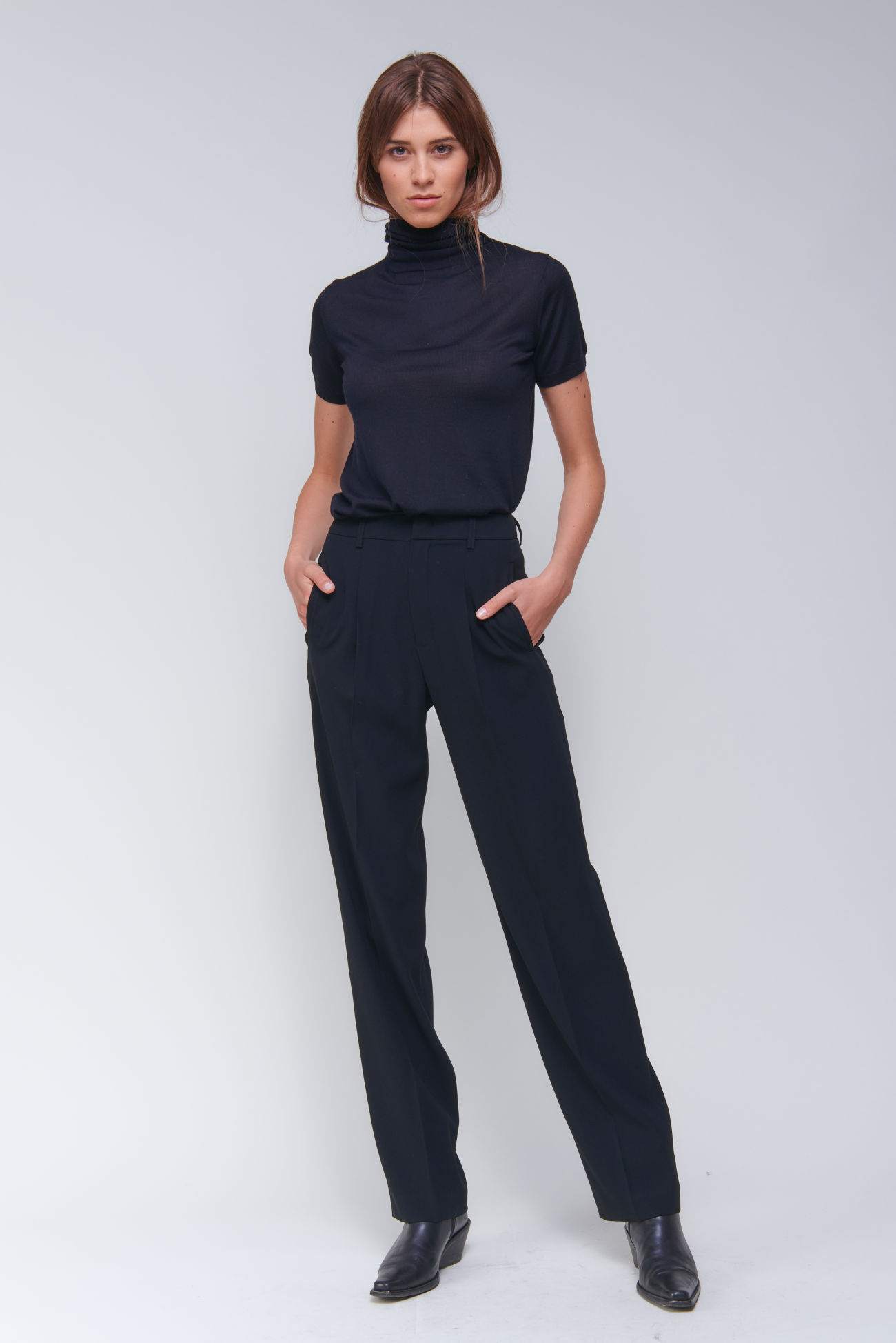 Sophisticated wide-leg crêpe trousers