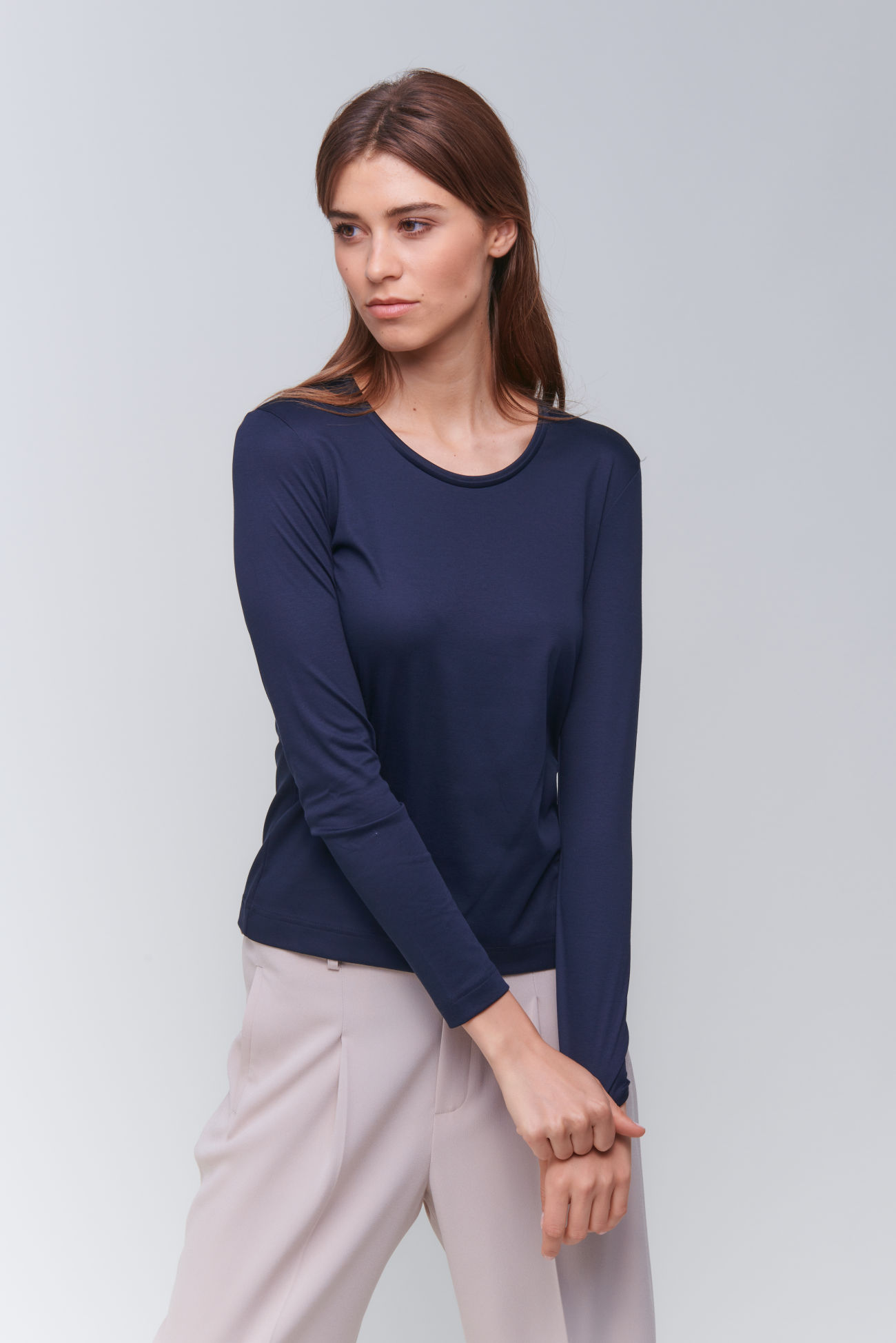 Longsleeve shirt in interlock cotton