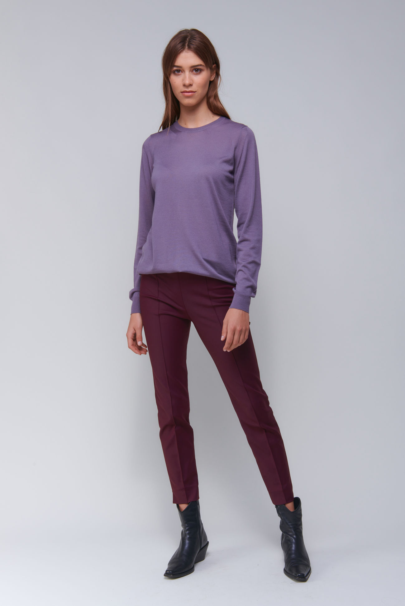 Casual long pullover in wool cashmere blend