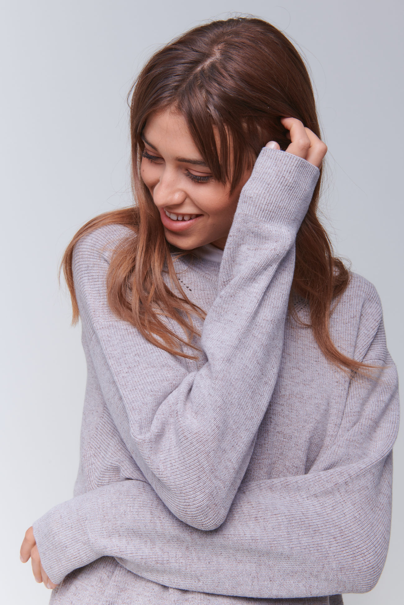 Loose fit pullover in Mouliné yarn