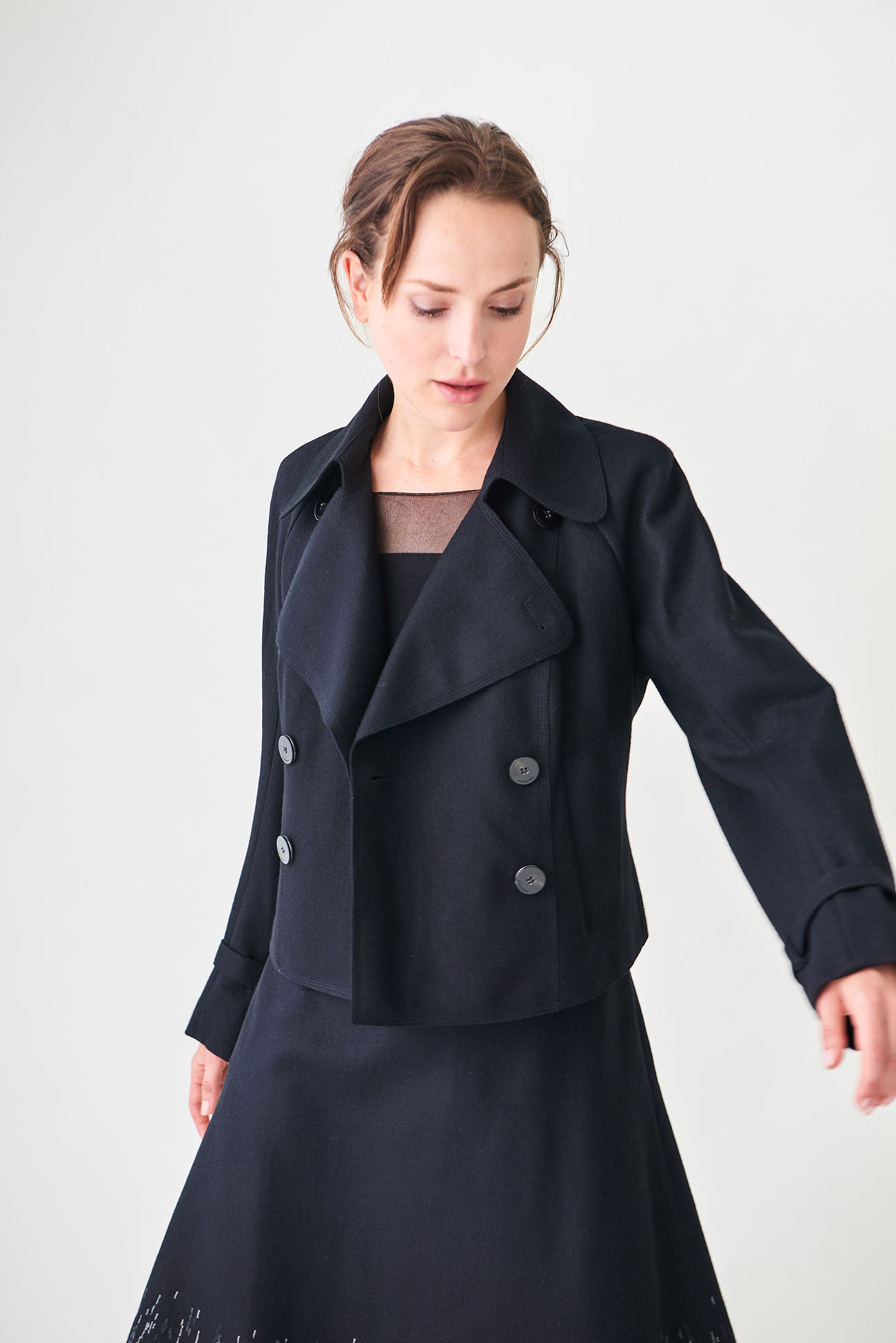Waist-length wool jacket in a sailor style