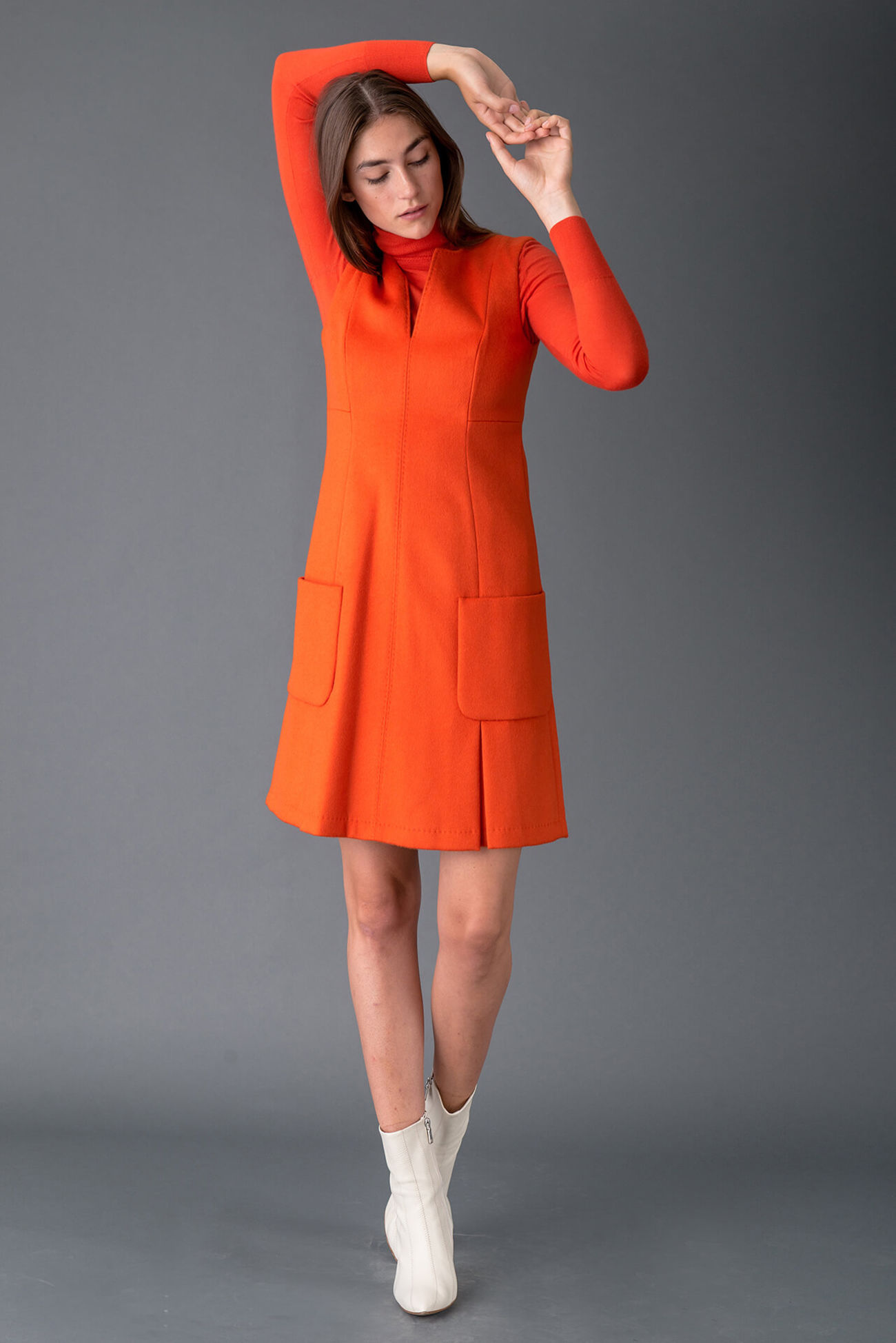 Winter sheath dress made of high quality wool cloth