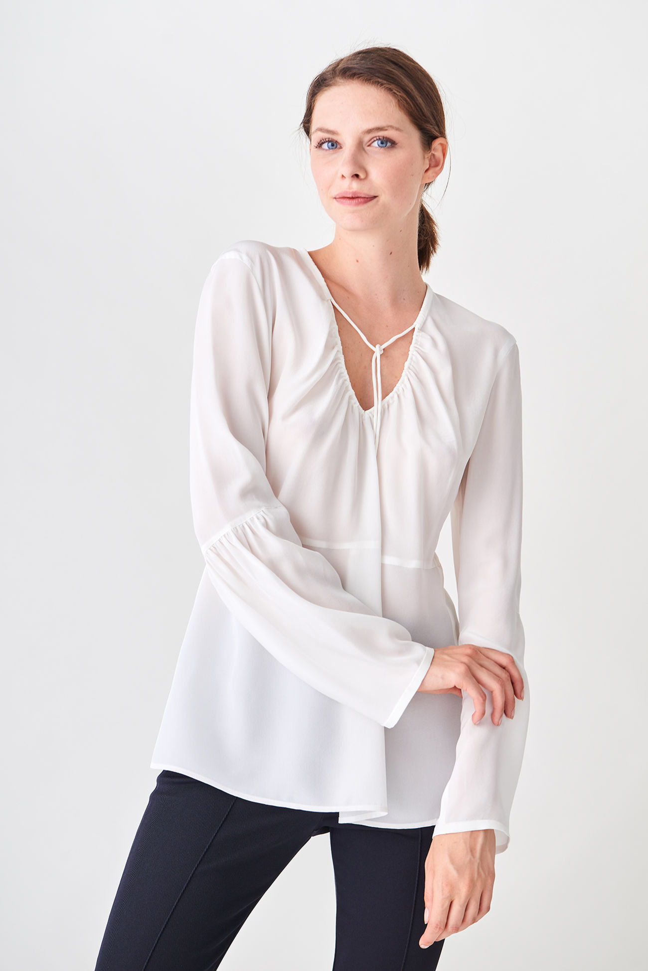 Silk blouse with playful details