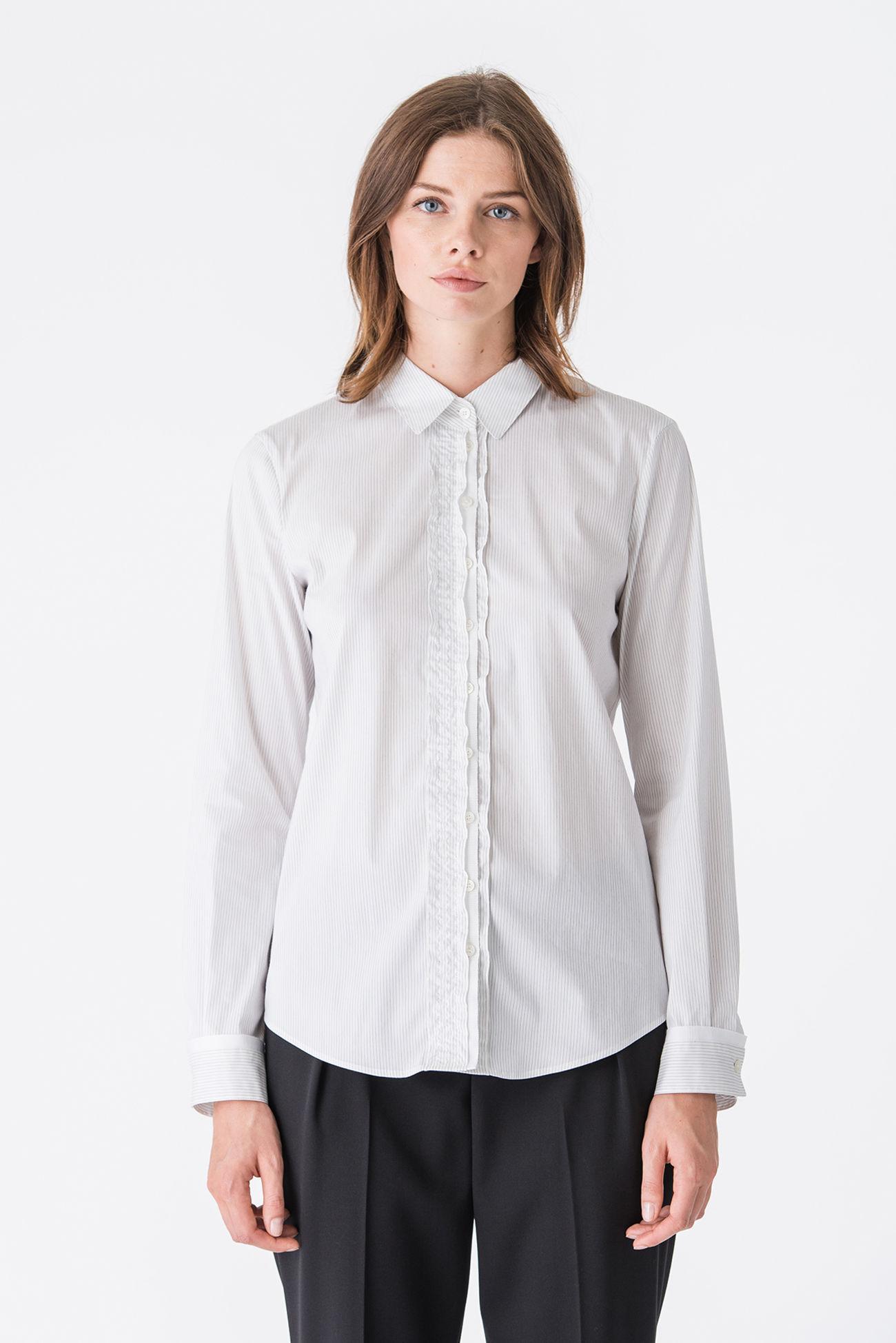 Decorative blouse in pinstripe poplin stretch