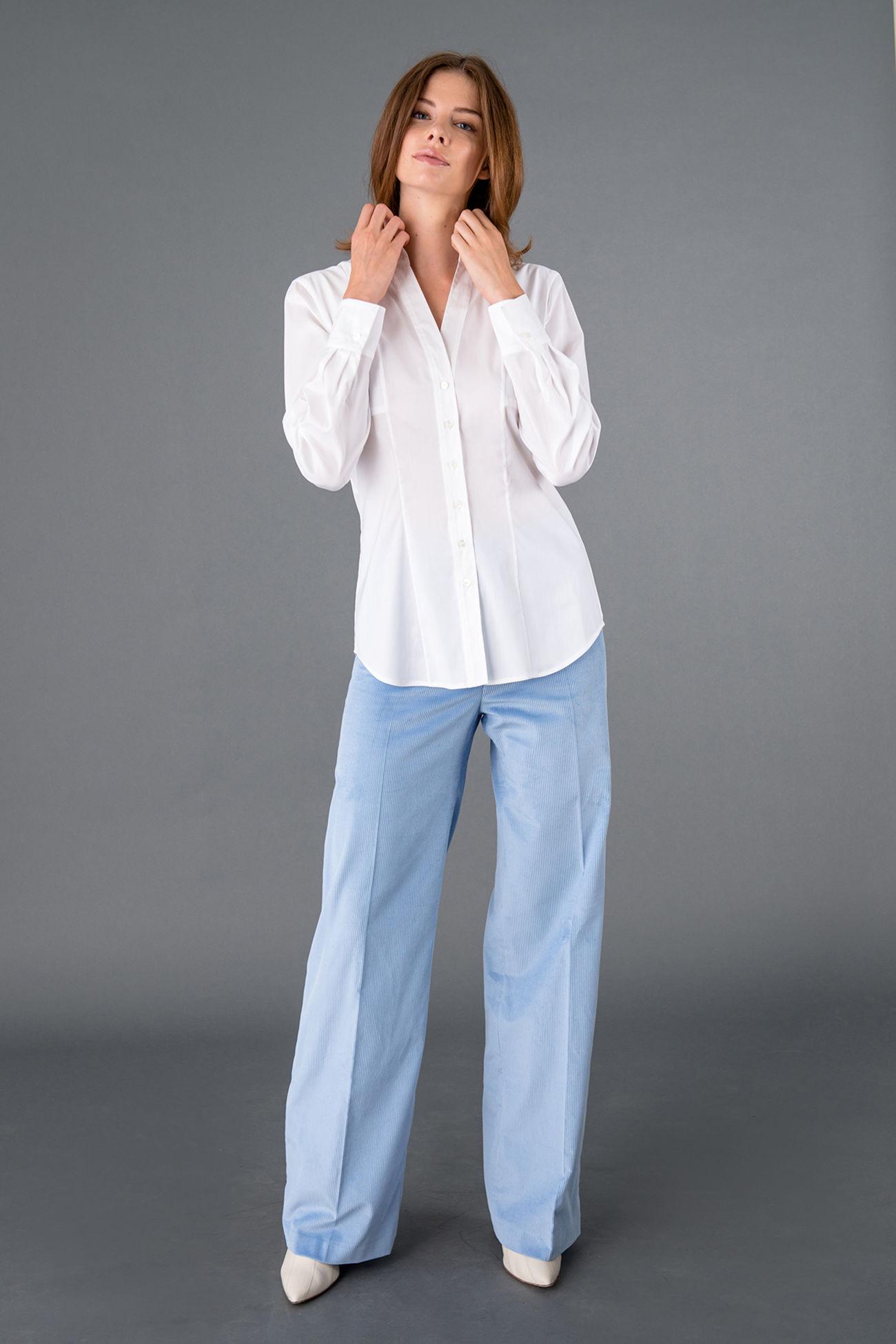Moderne Bluse aus Baumwoll-Popeline Stretch