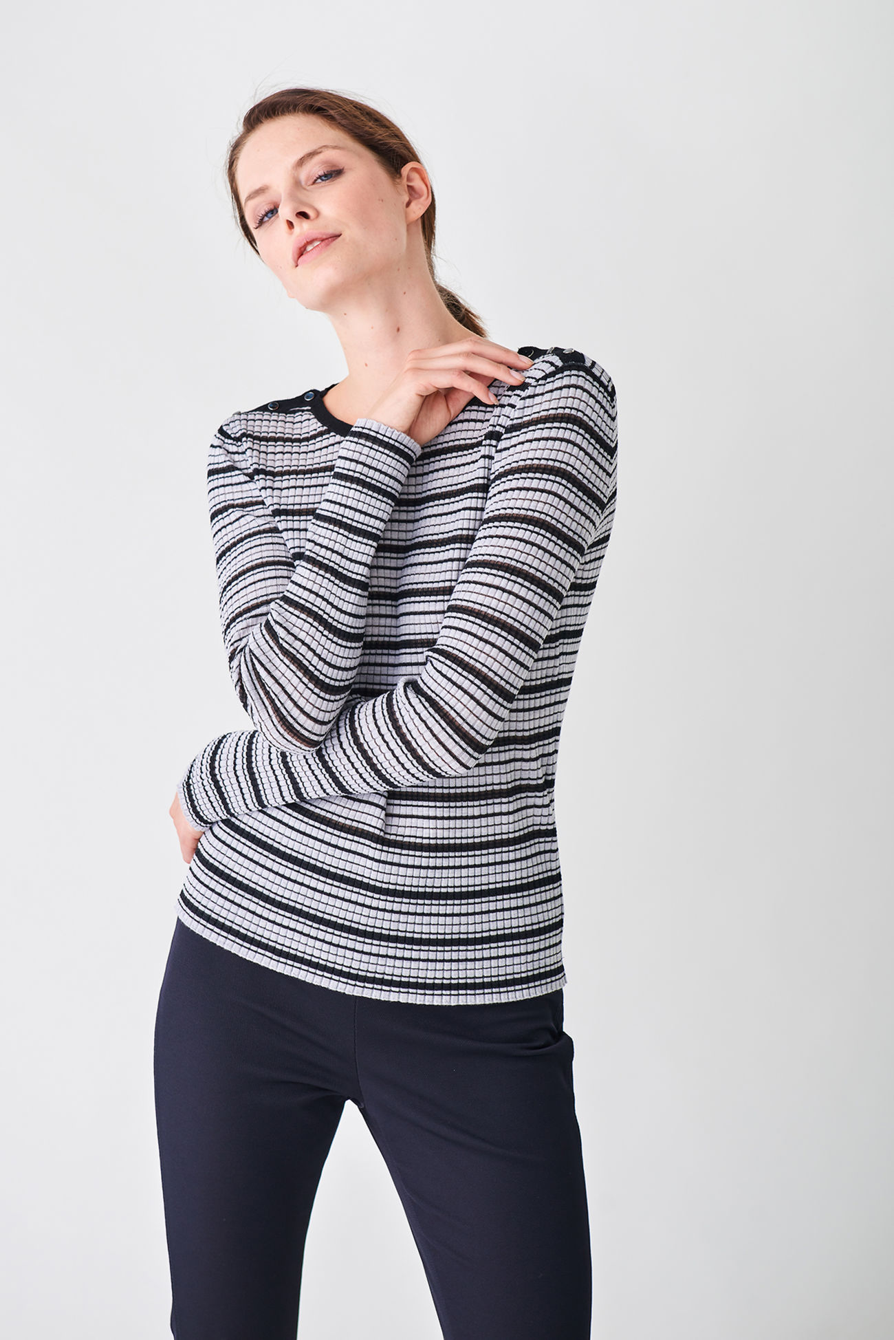 Striped pullover made of ribbed merino