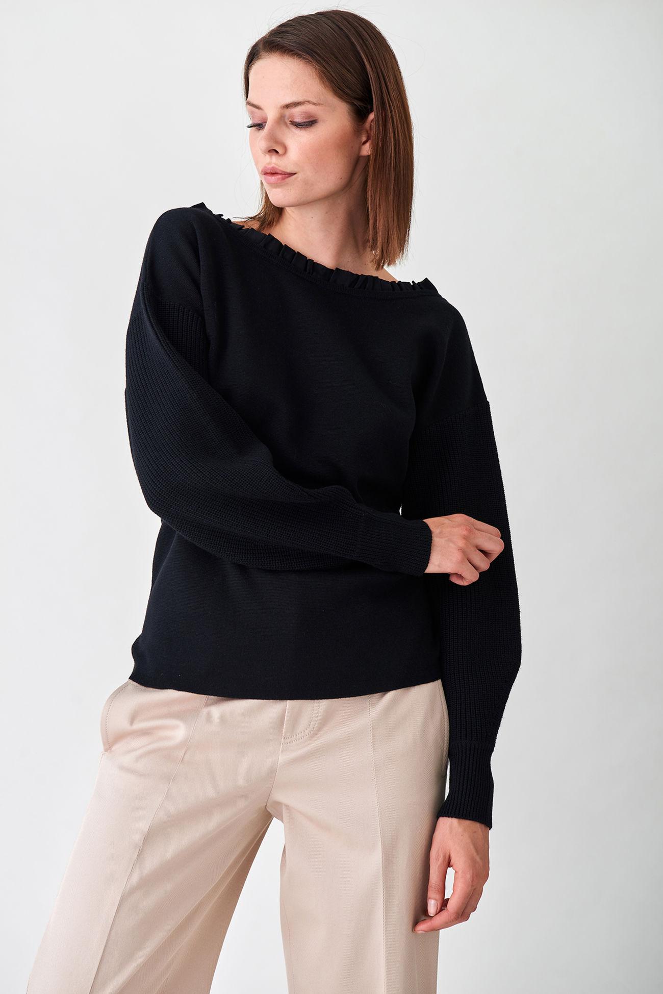 Gerippter Merino-Pullover interessanten Ausschnittdetails