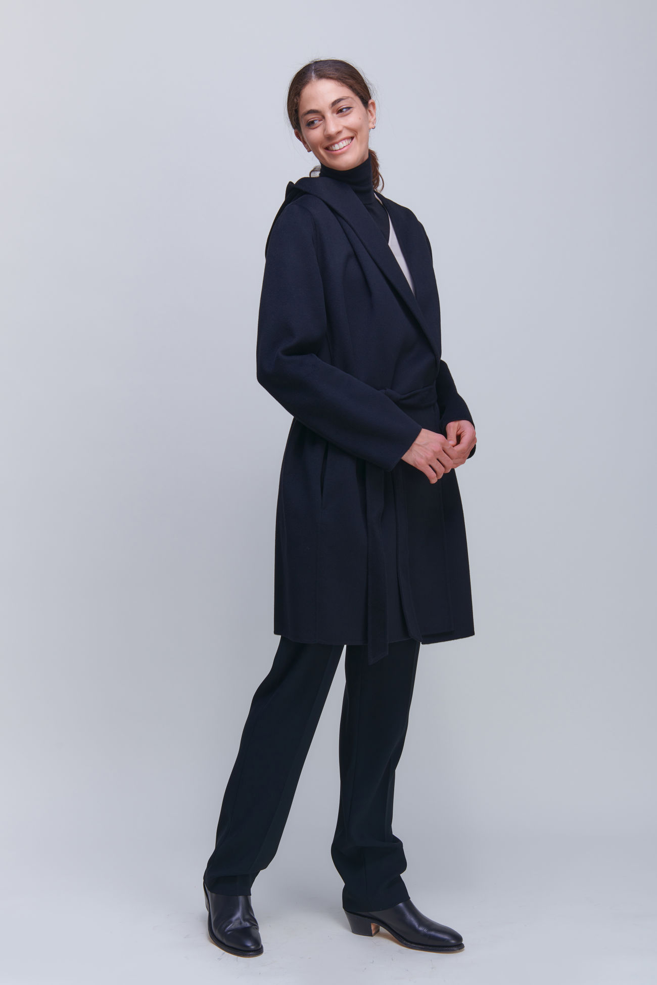 Nonchalant coat for tying made of Doubleface with cashmere