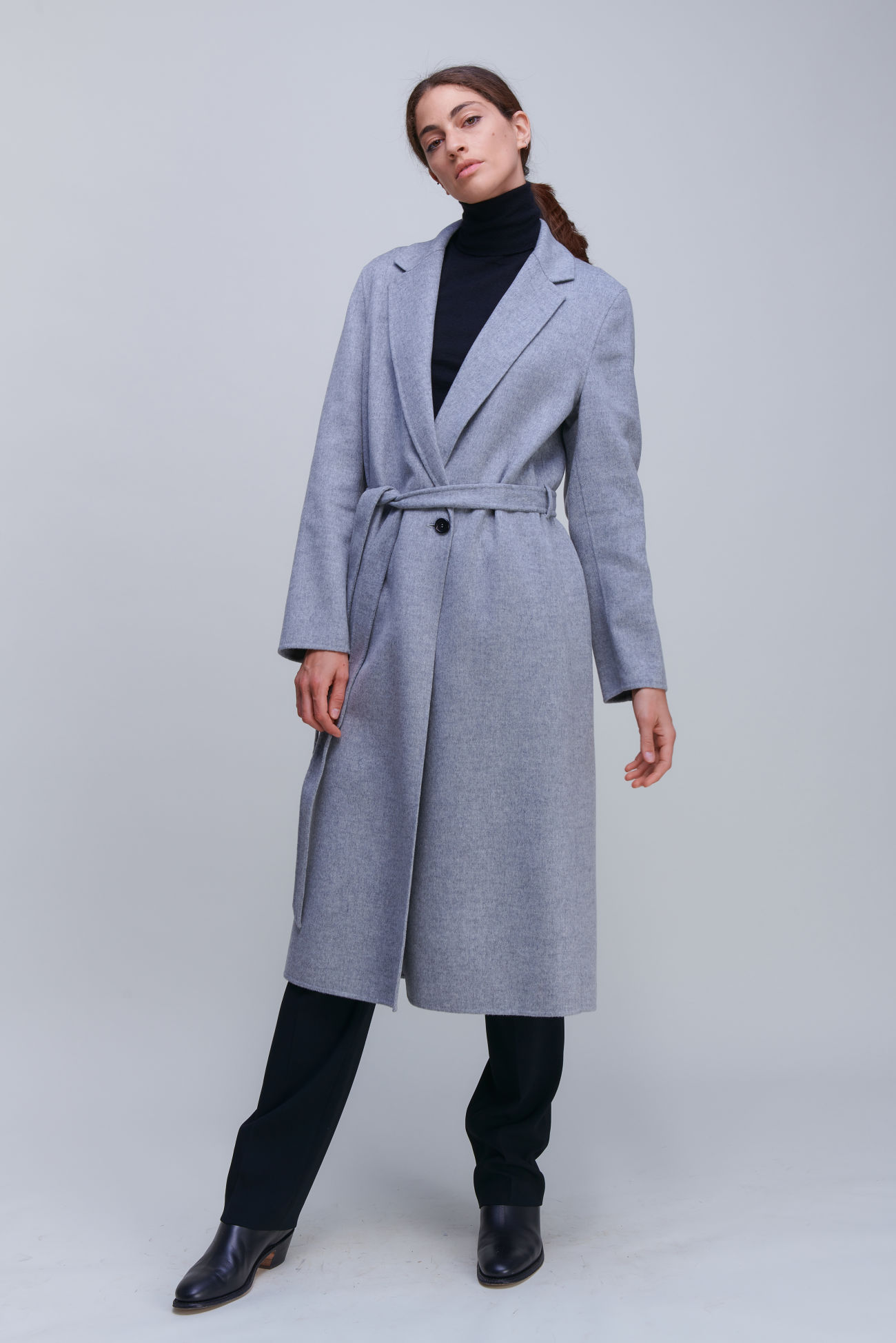 Extravagant long coat made of Doubleface with cashmere