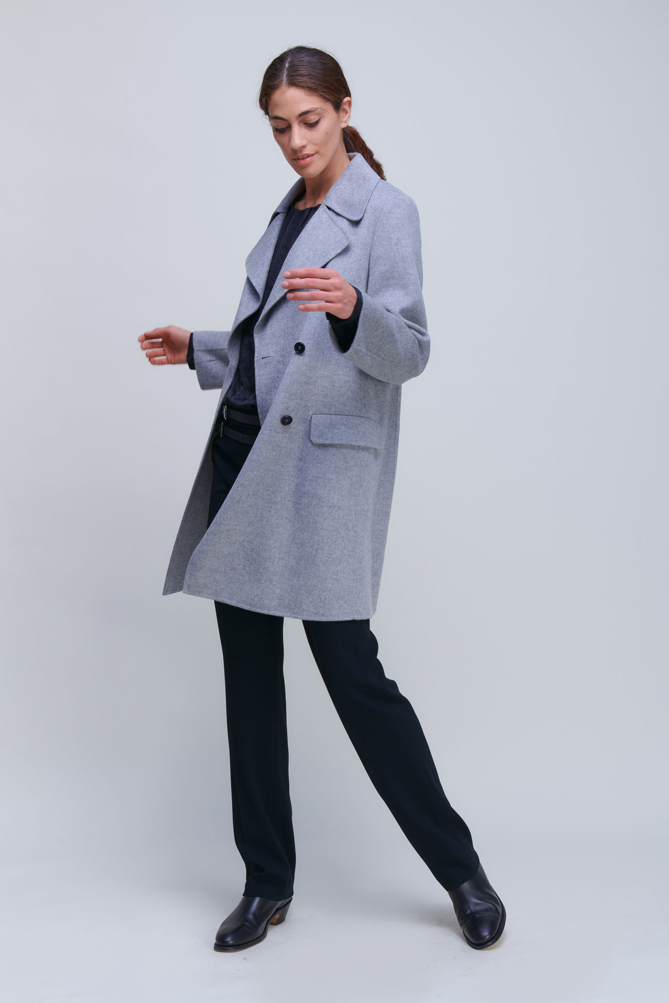Timeless double-breasted coat in Doubleface with cashmere