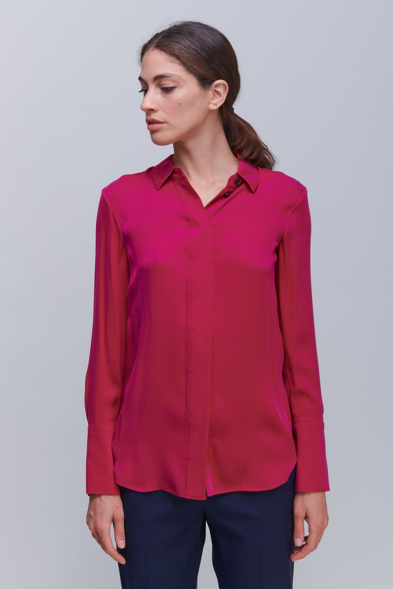 Shirt blouse in luxurious silk stretch