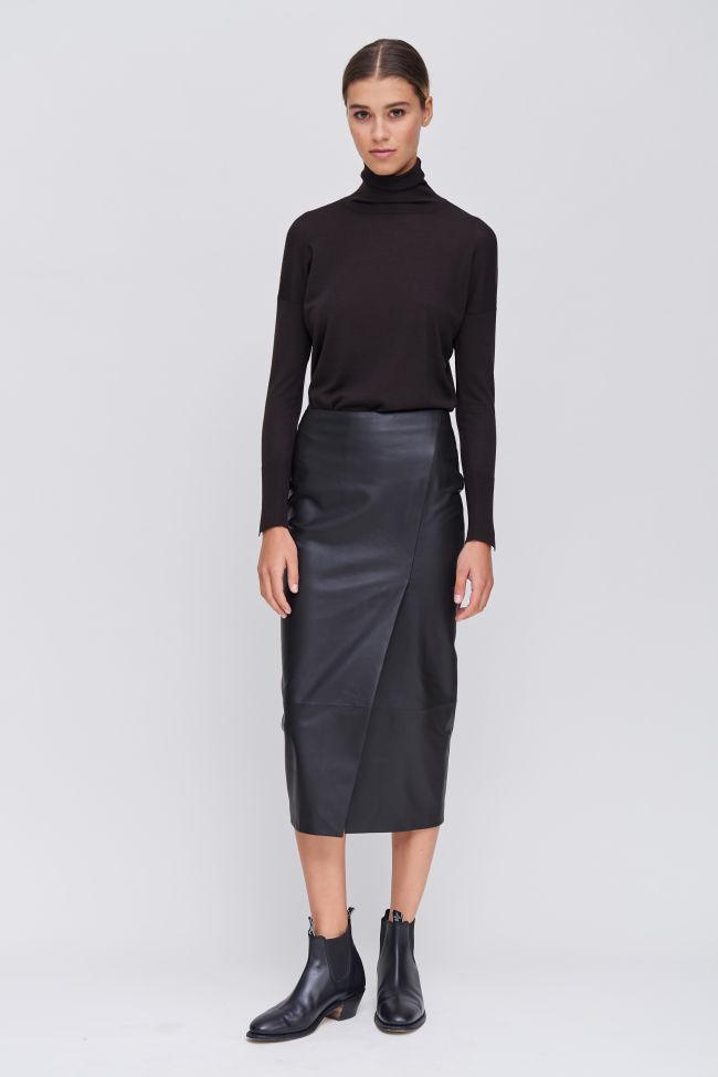 Nappa leather skirt