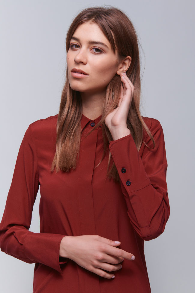 Stylish silk blouse with fine details