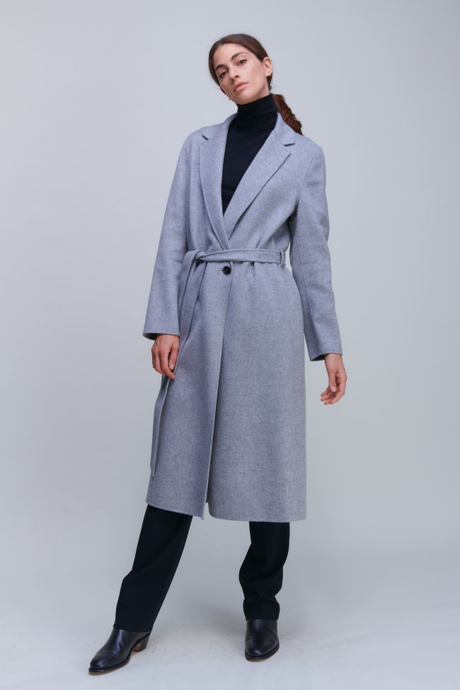 Extravaganter langer Mantel aus Doubleface mit Kaschmiranteil