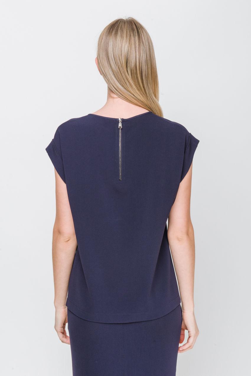 Kurzarm-Bluse aus Crêpe