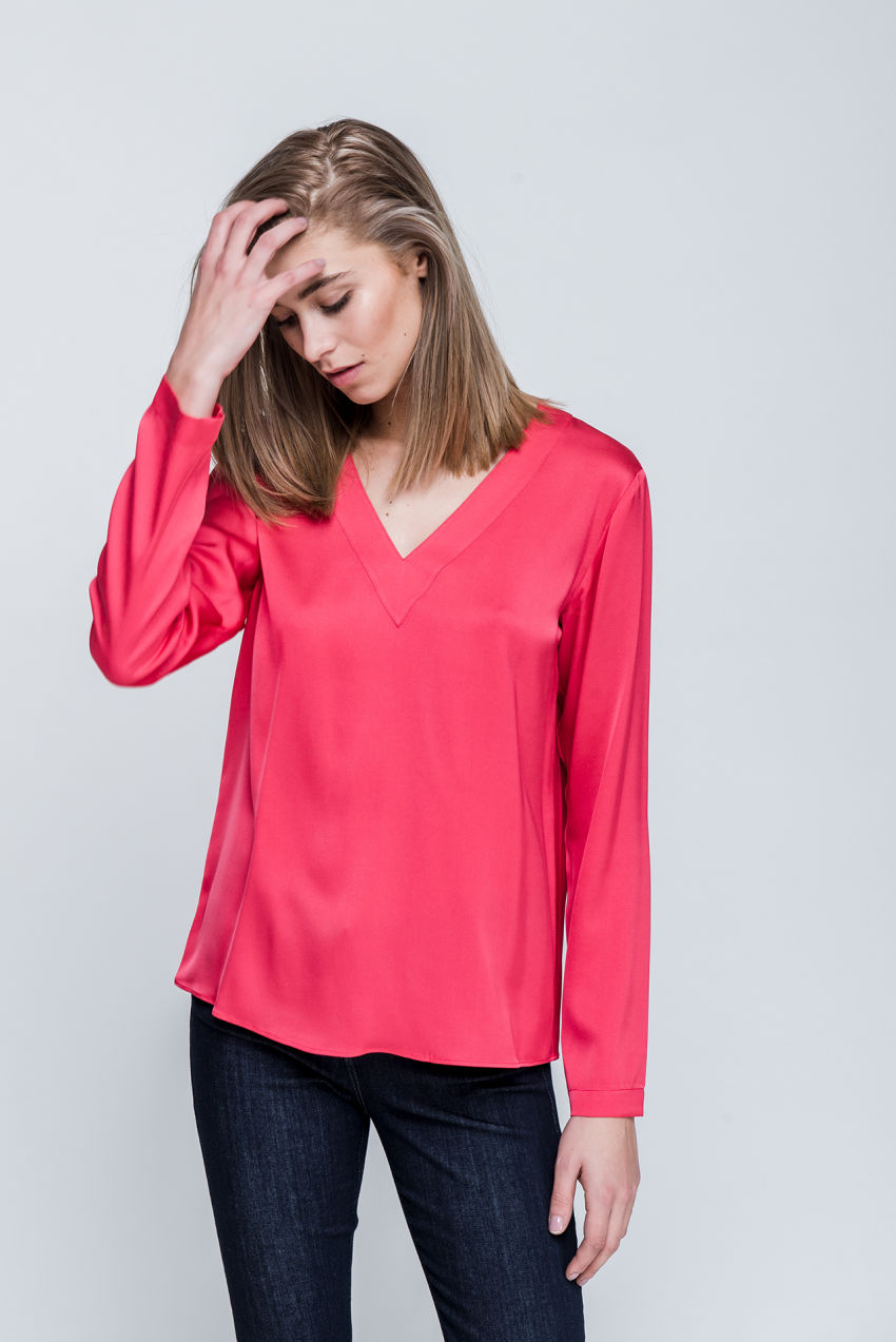 Bluse aus Seiden-Stretch