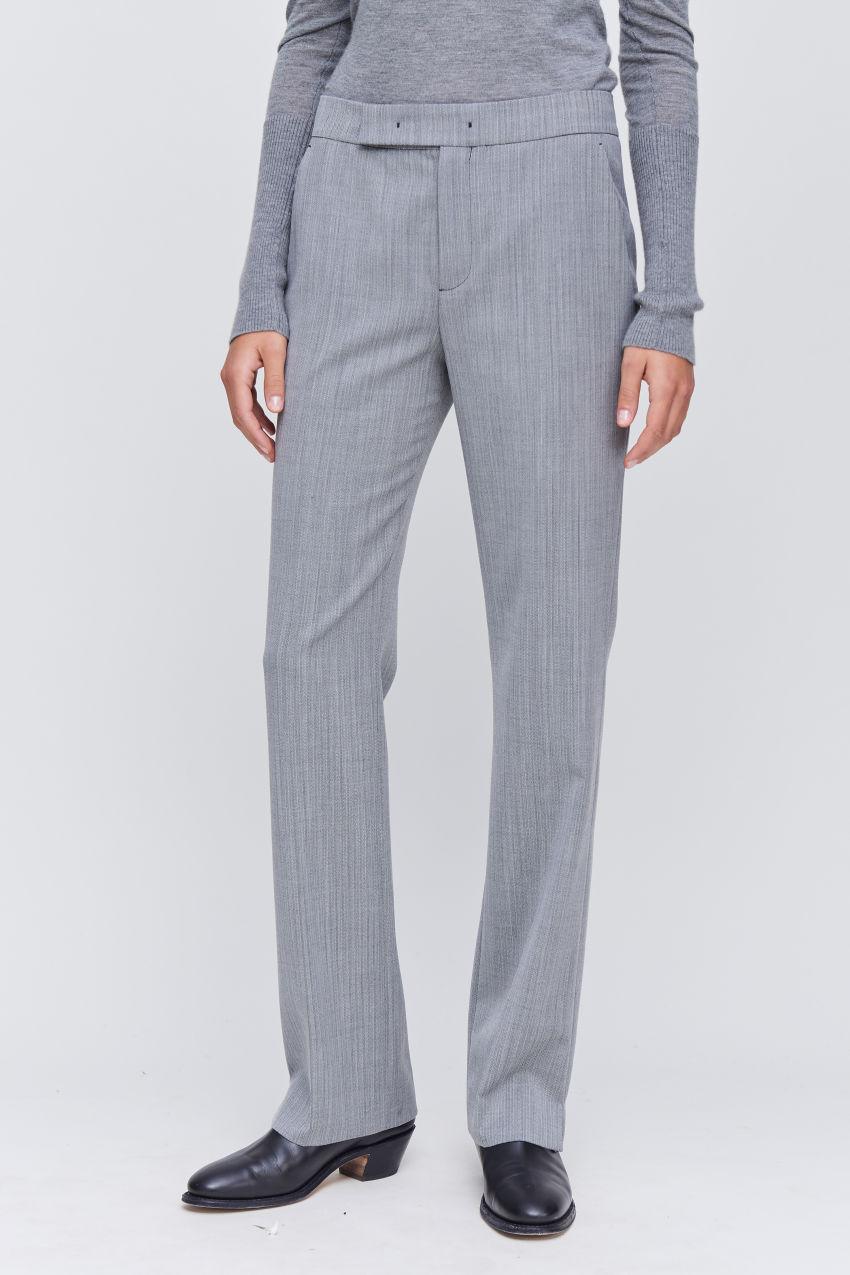 Trousers with mini fishbone pattern