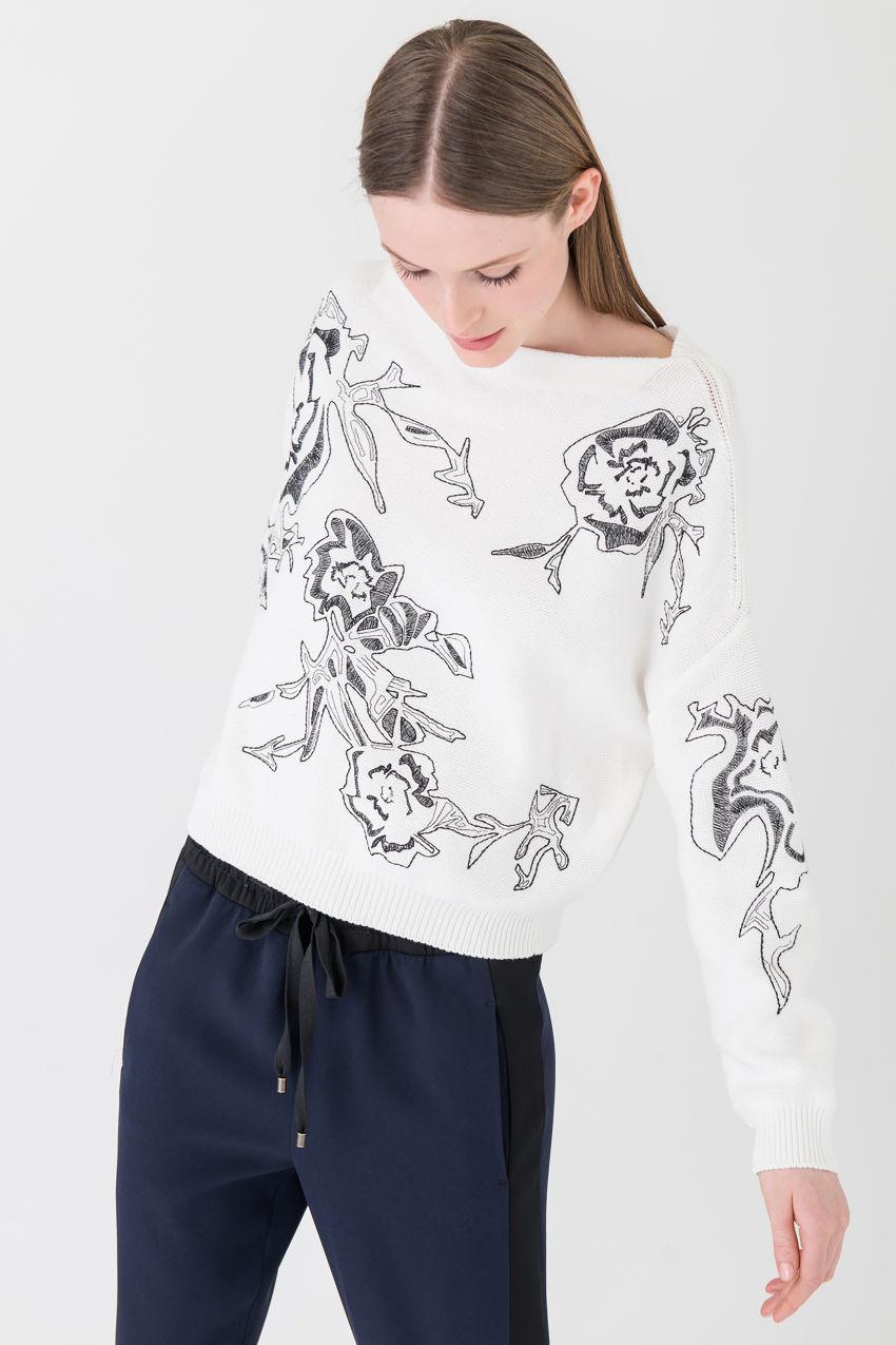 Fein bestickter Pullover aus reiner Baumwolle