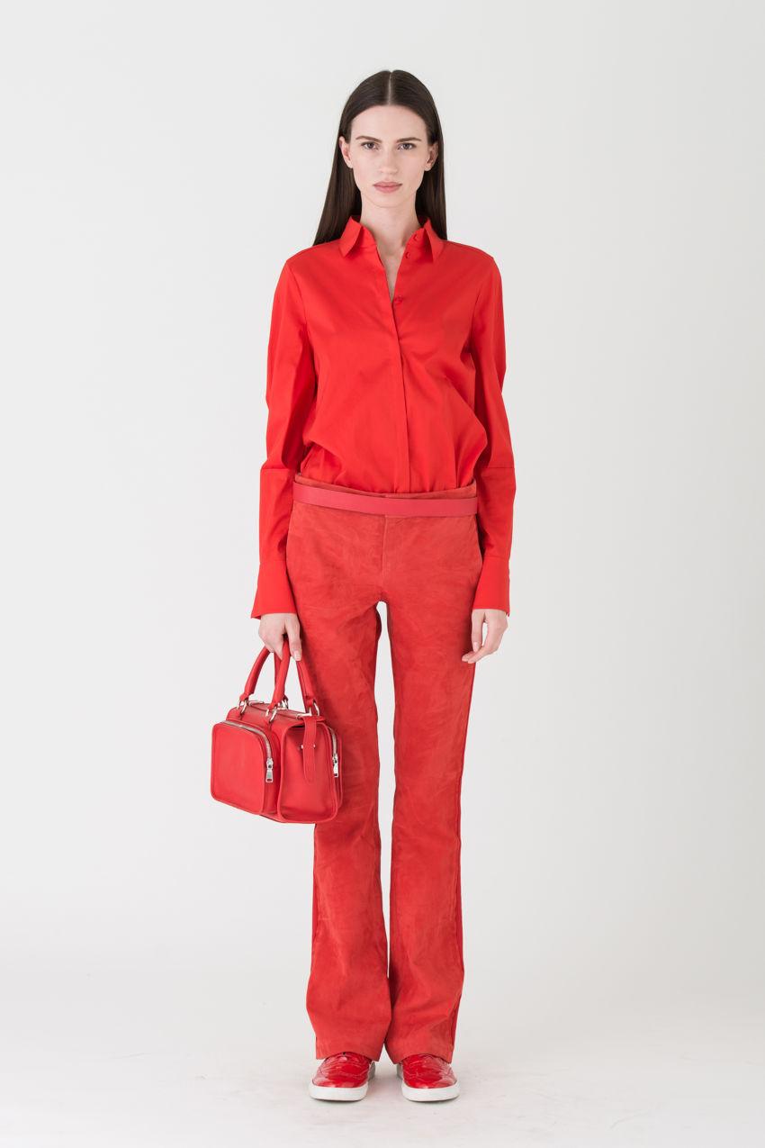 Bluse aus Popeline im Garçonne-Stil