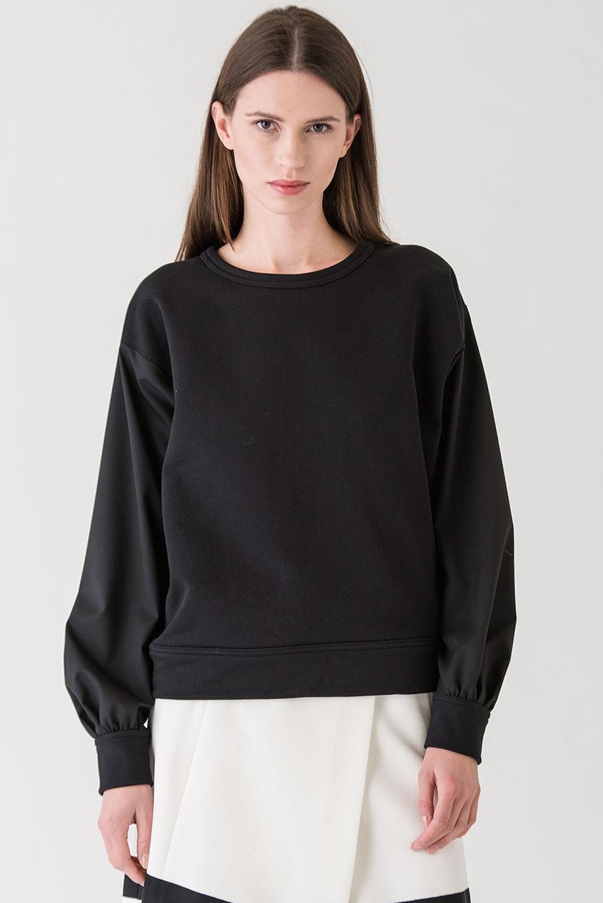 Blusenshirt aus leichter 130er Schurwolle gepatched mit reiner Baumwolle