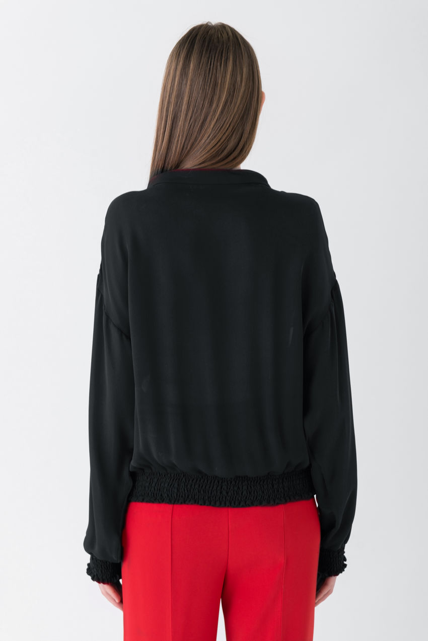 Trendy silk bomber jacket with a futuristic design