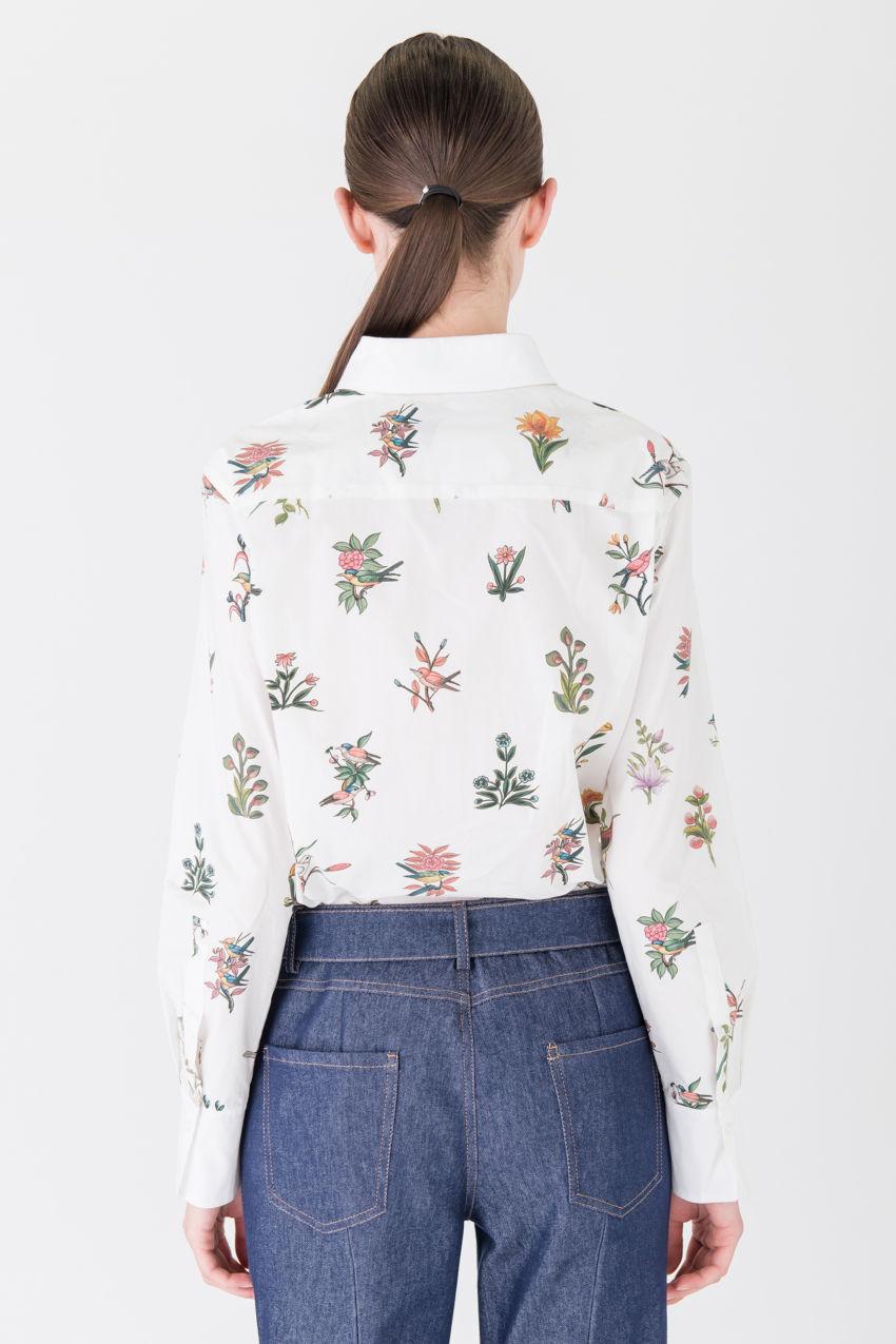 Stilvolle Baumwollbluse mit edlem Vogel-Print